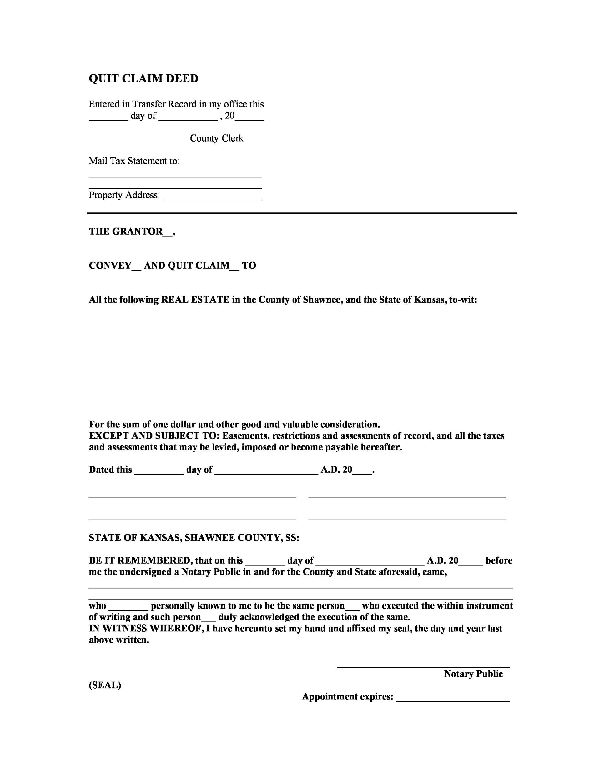 Free Quit Claim Deed Template 26