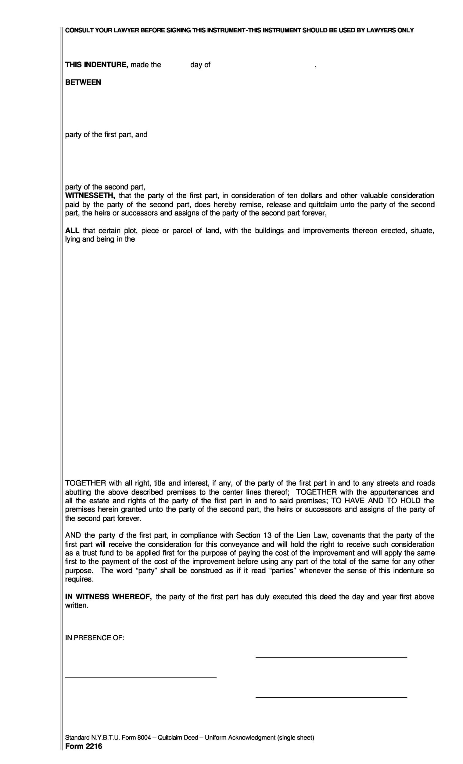 Free Quit Claim Deed Template 27