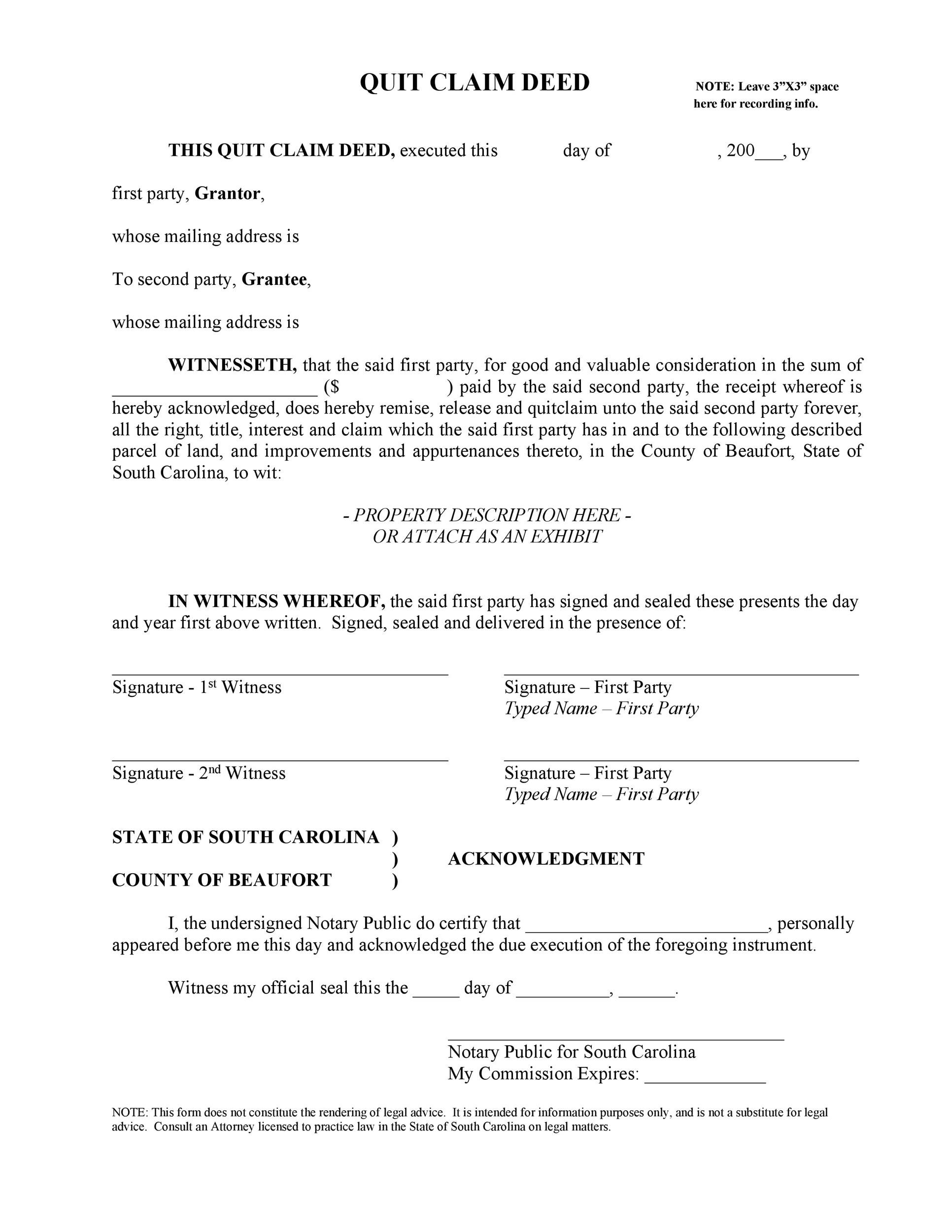 Persnickety image in free printable quit claim deed form