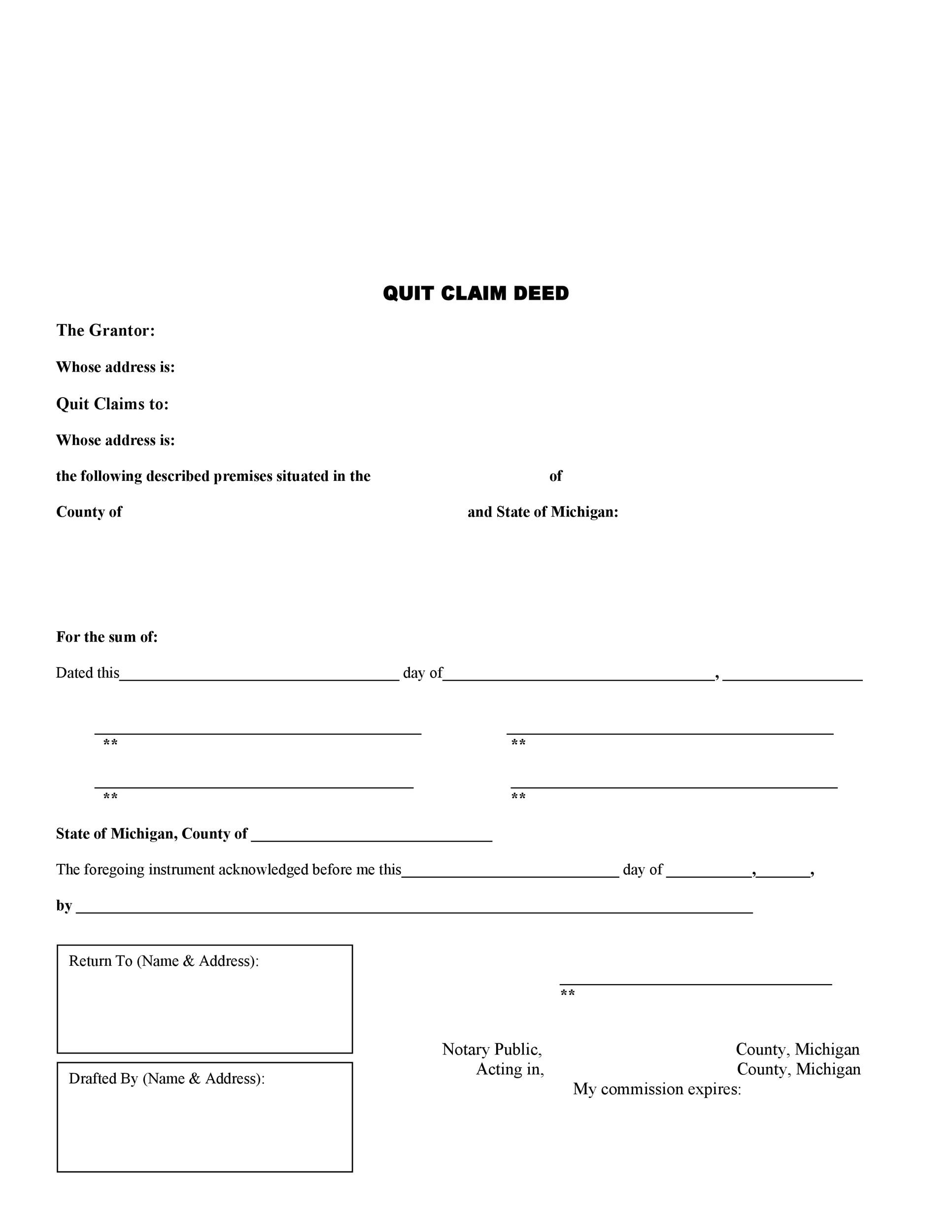 46 Free Quit Claim Deed Forms & Templates - Template Lab