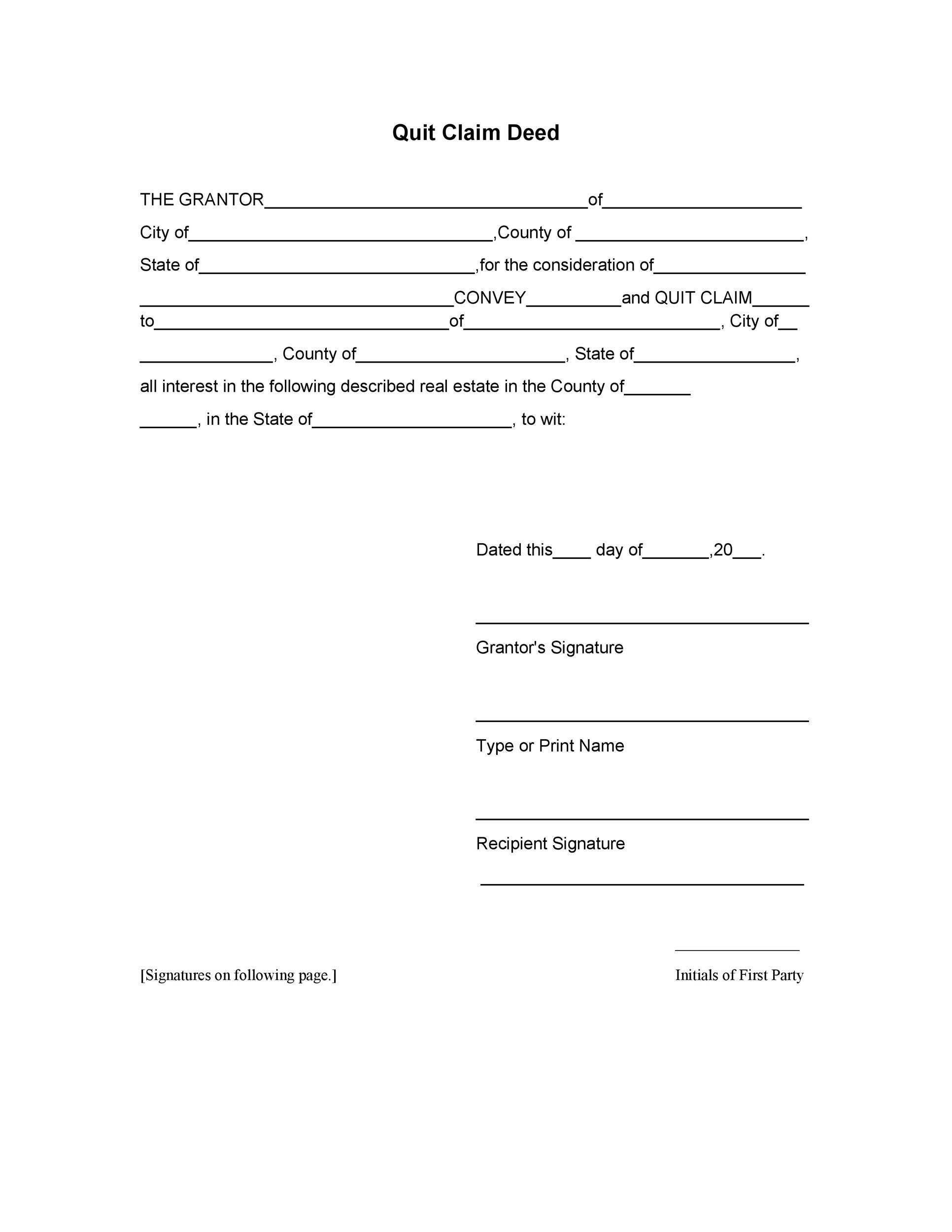 Free Quit Claim Deed Template 35