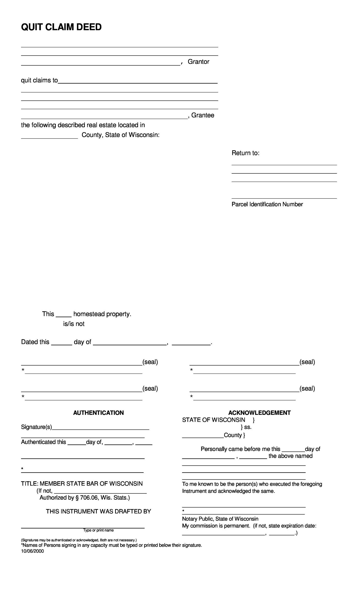 Free Quit Claim Deed Template 39