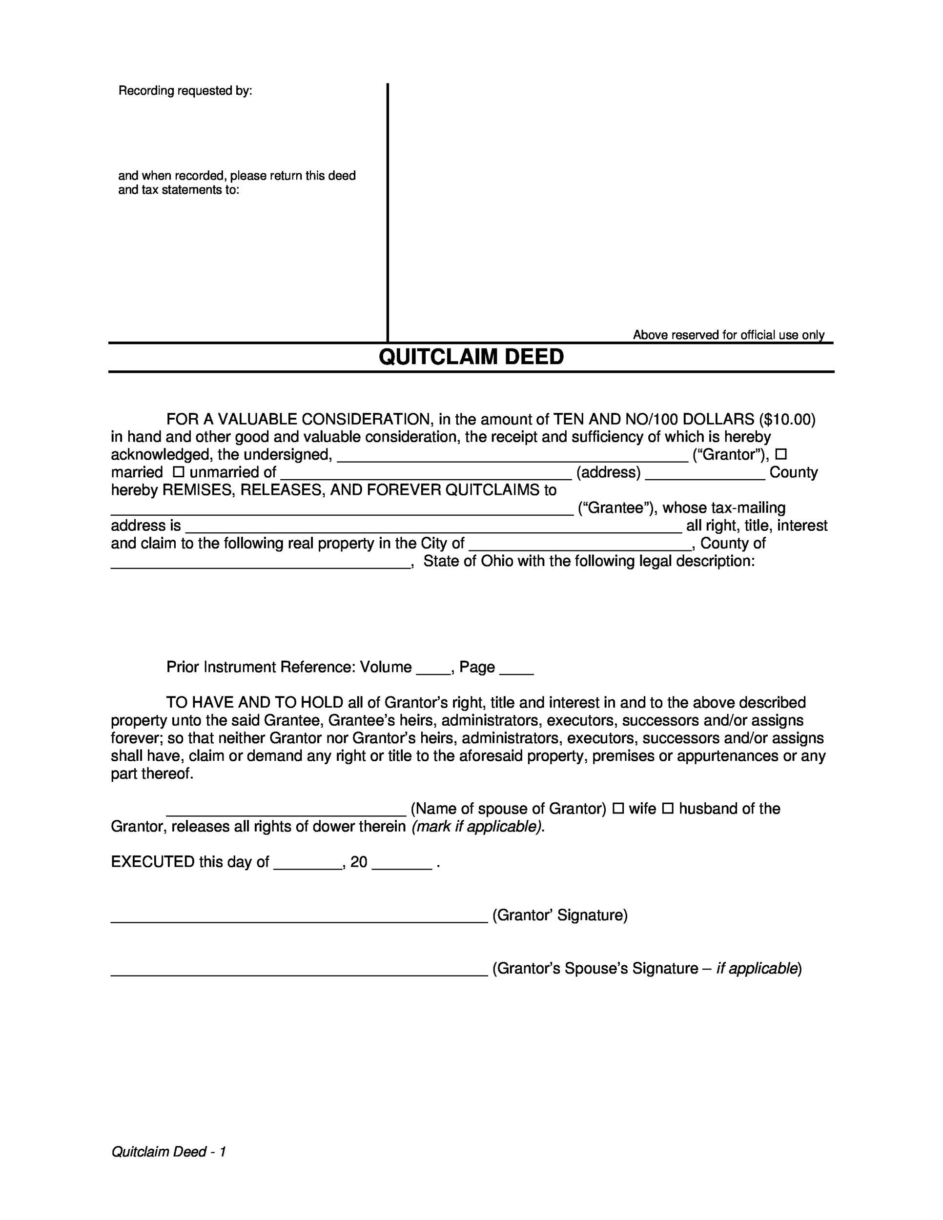 Free Quit Claim Deed Template 42