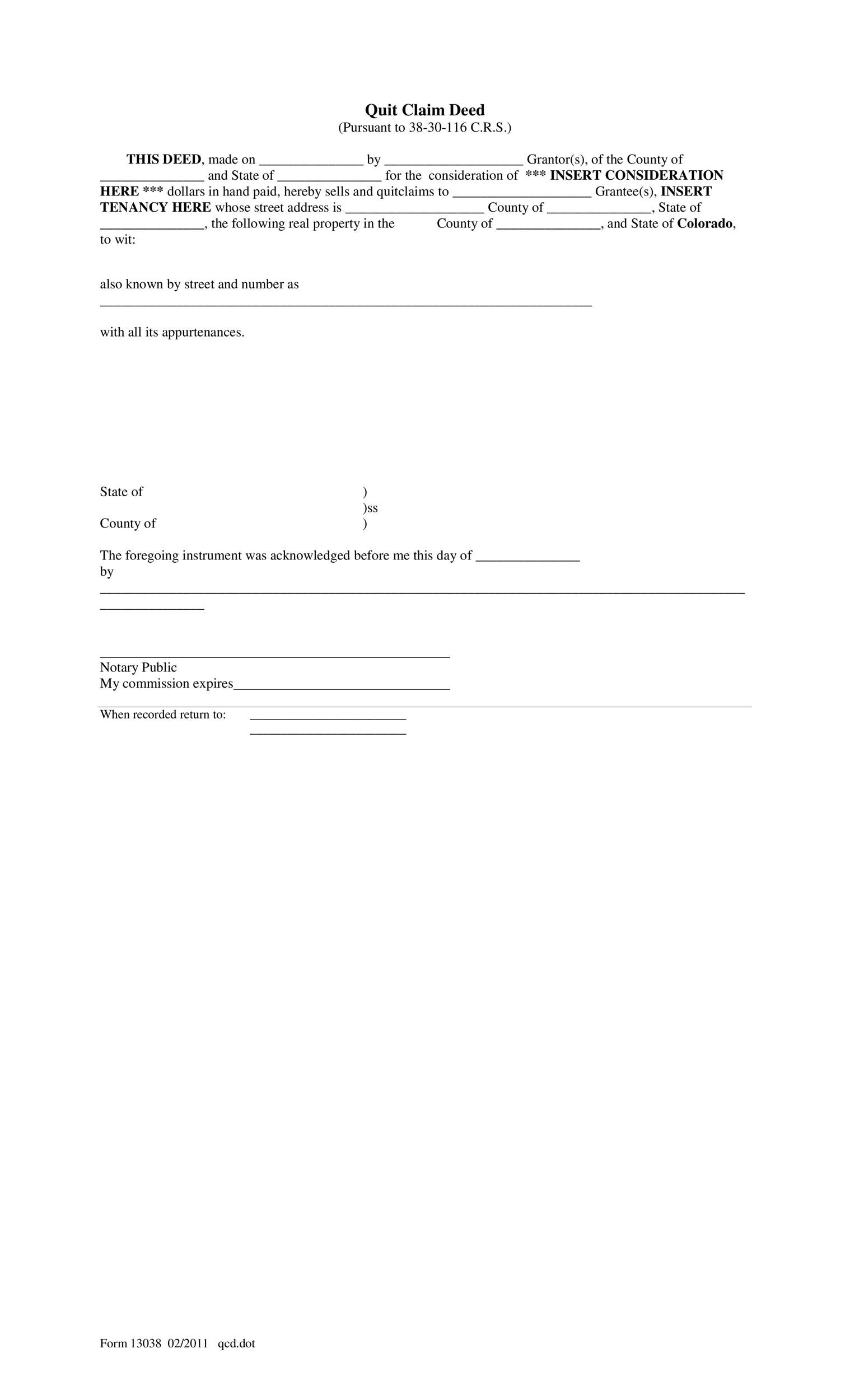 Free Quit Claim Deed Template 43