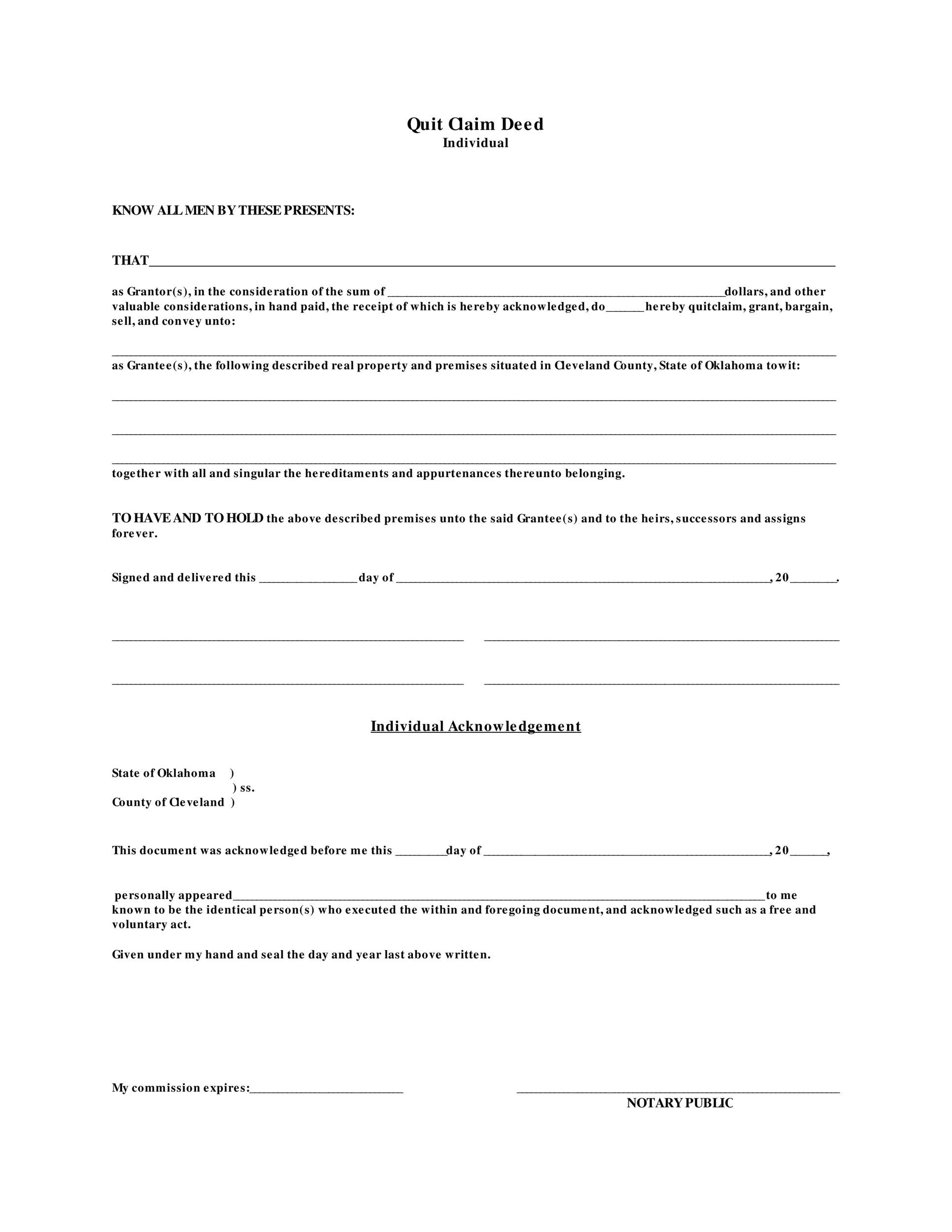 Free Quit Claim Deed Template 45