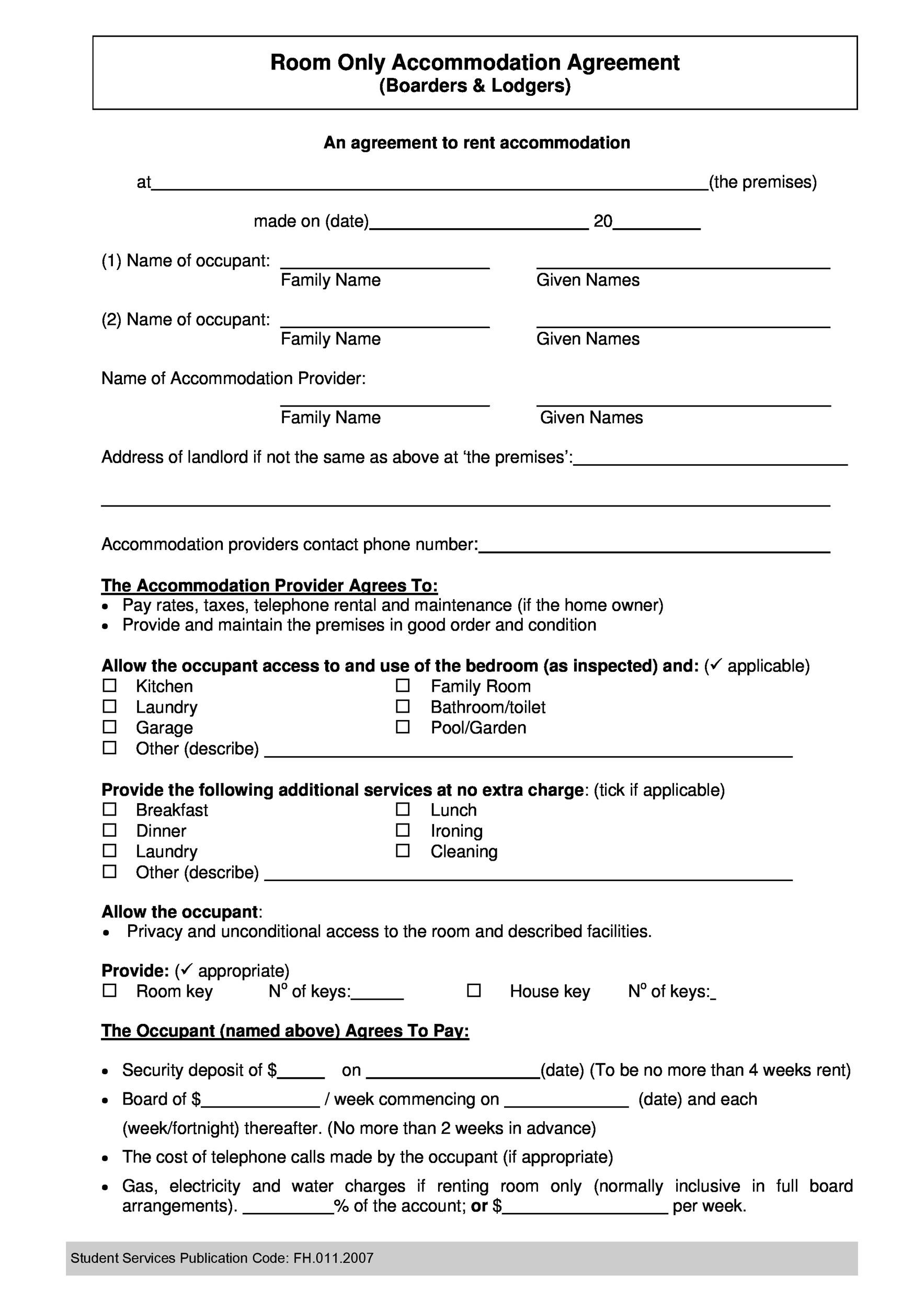 Free roommate agreement template 01