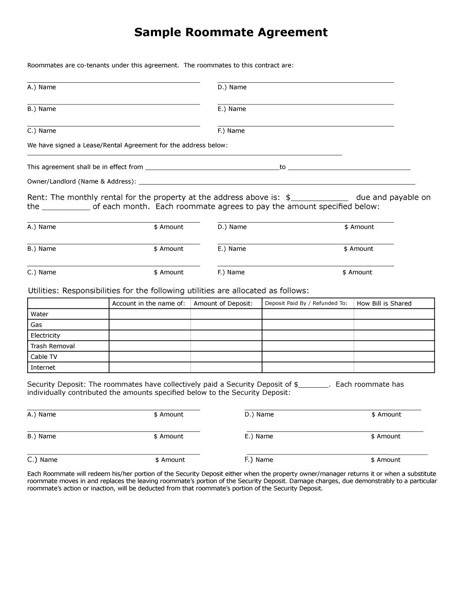 roommate agreement template 40  Free Roommate Agreement Templates