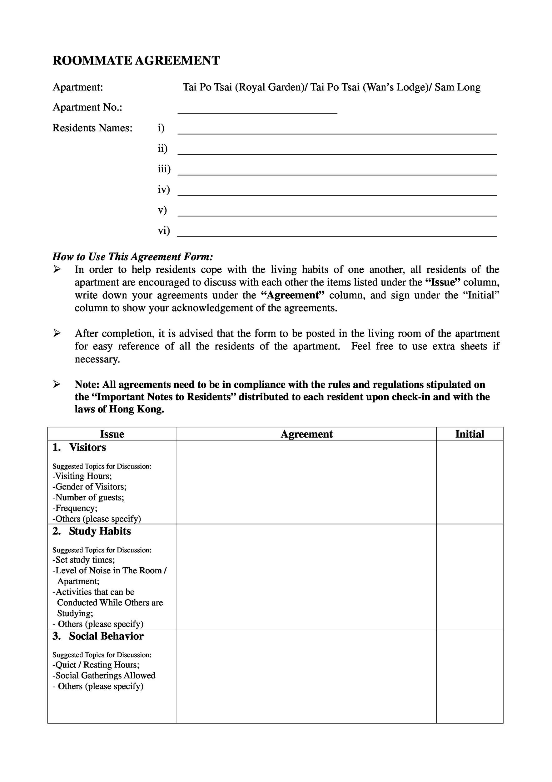 Free roommate agreement template 05