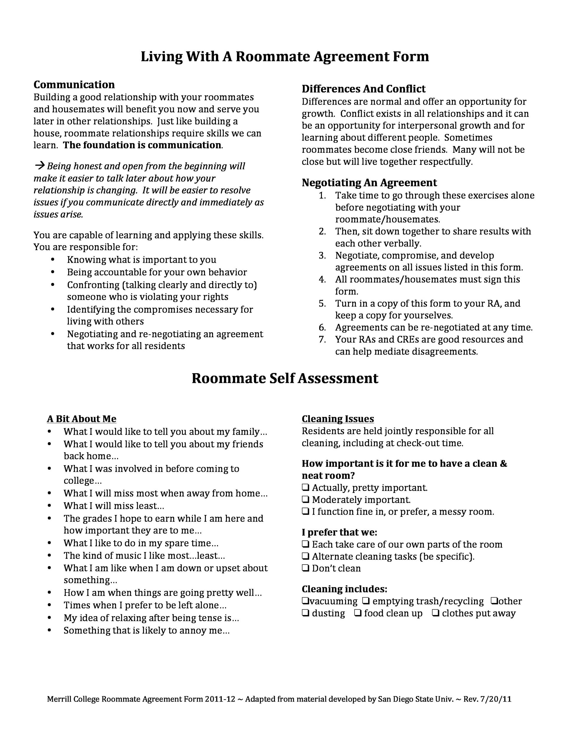 Printable Roommate Agreement Template 07  Agreement Template Word