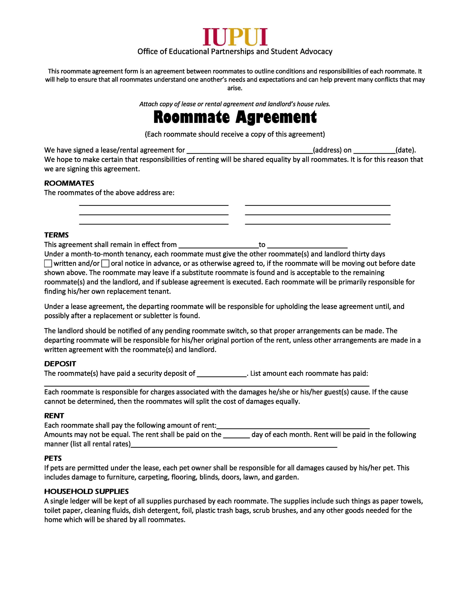 Printable Roommate Agreement Template 14  Agreement Template Free