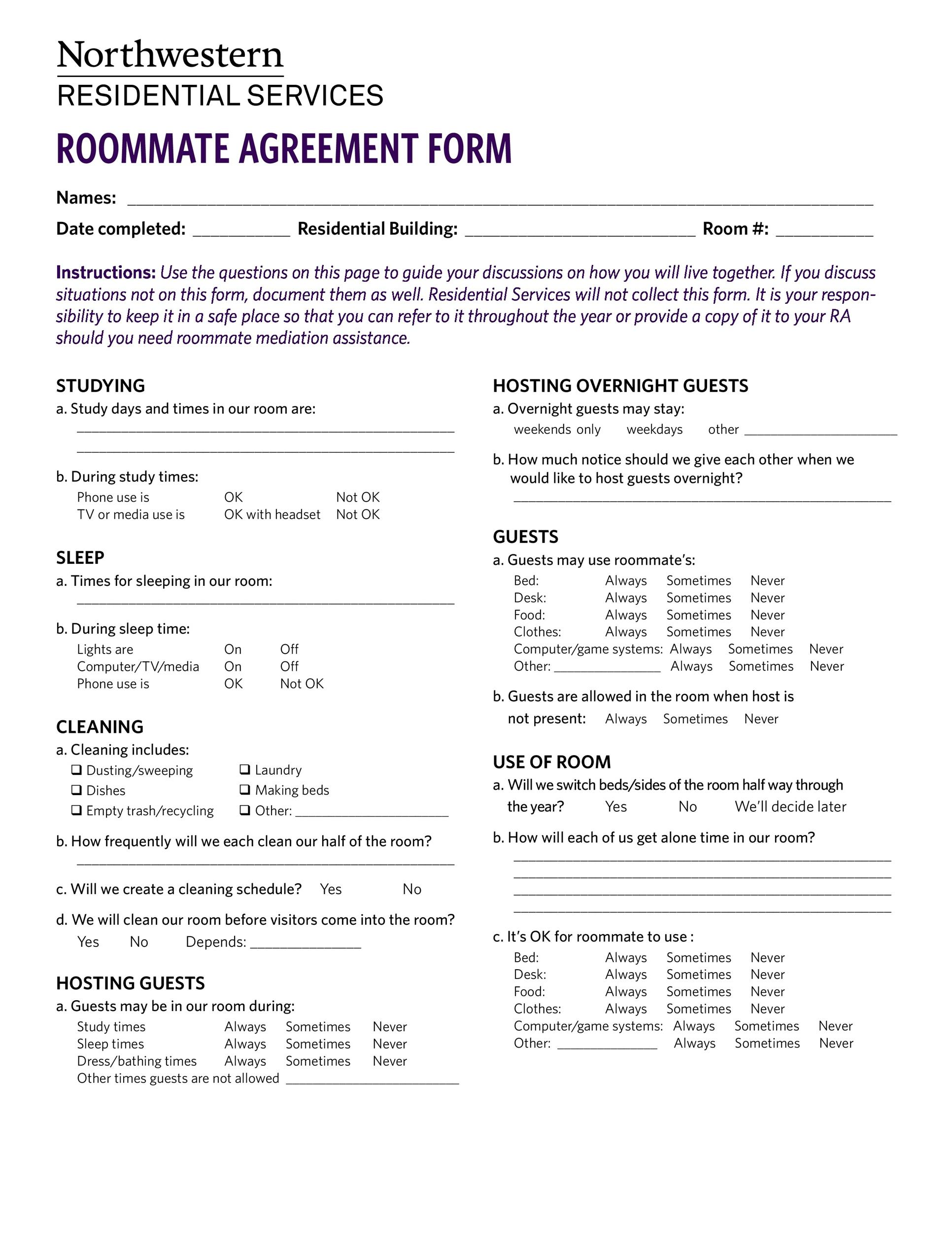 40 free roommate agreement templates forms word pdf for Roommate agreement template free