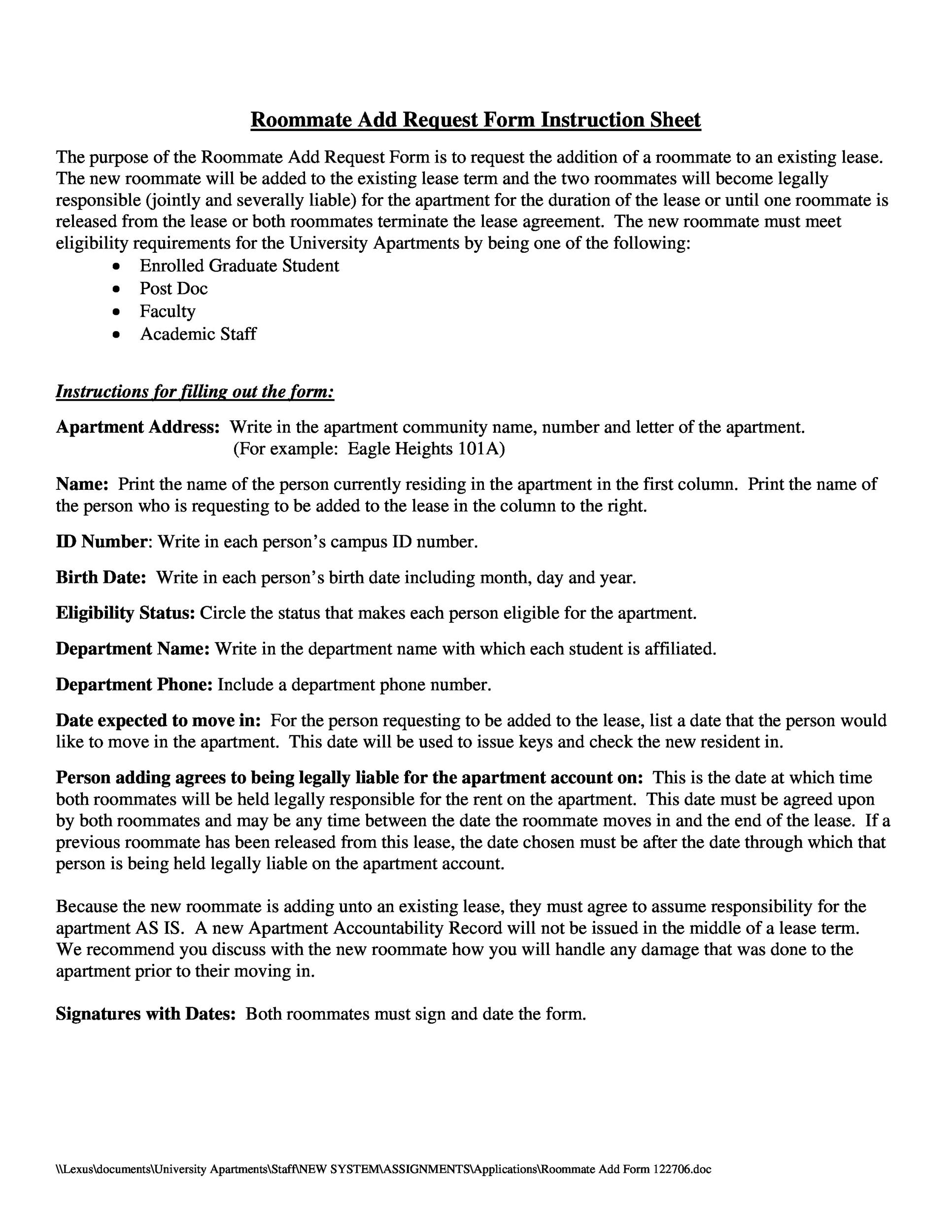 Printable Roommate Agreement Template 25  Generic Rental Contract