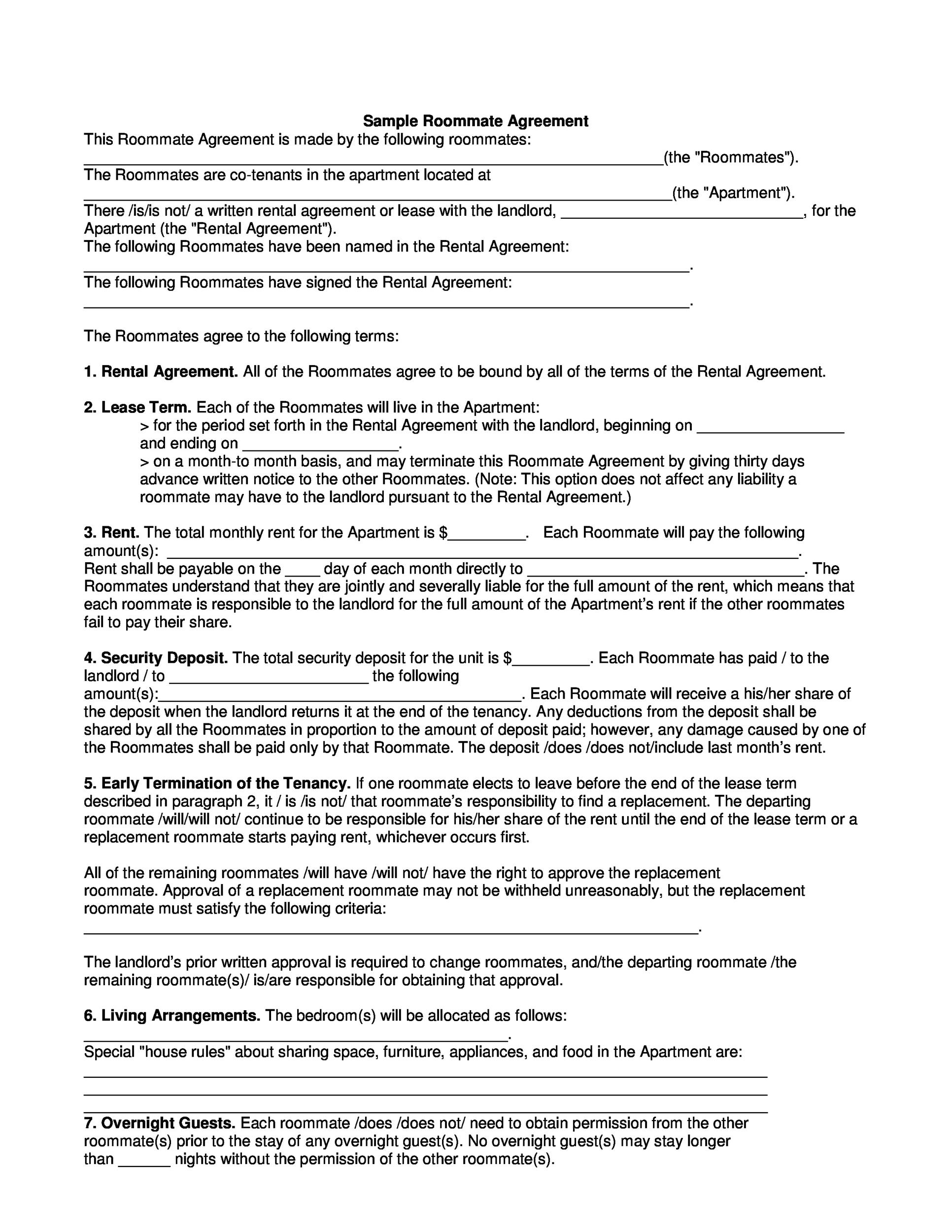 40 free roommate agreement templates forms word pdf printable roommate agreement template 27 pronofoot35fo Image collections