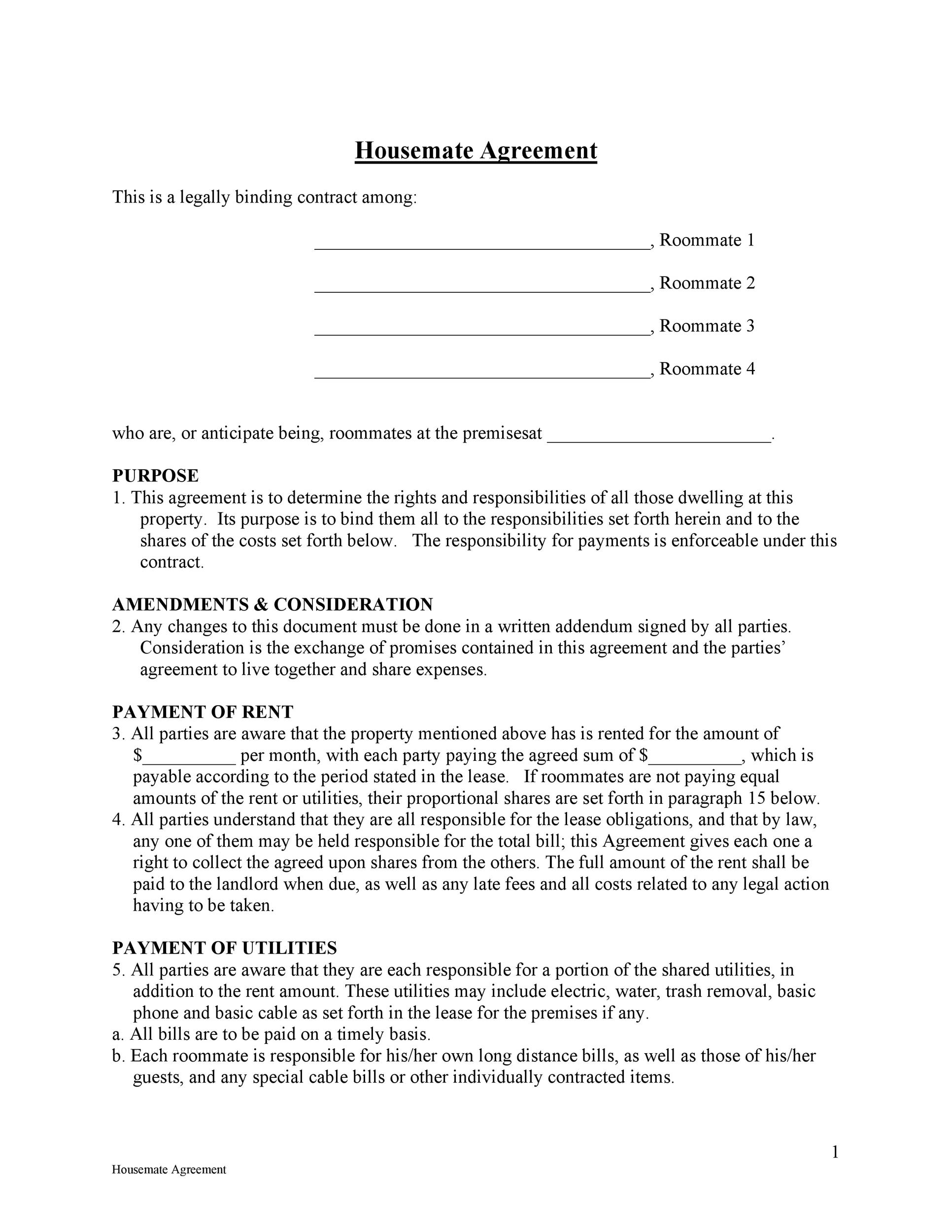 Free roommate agreement template 28