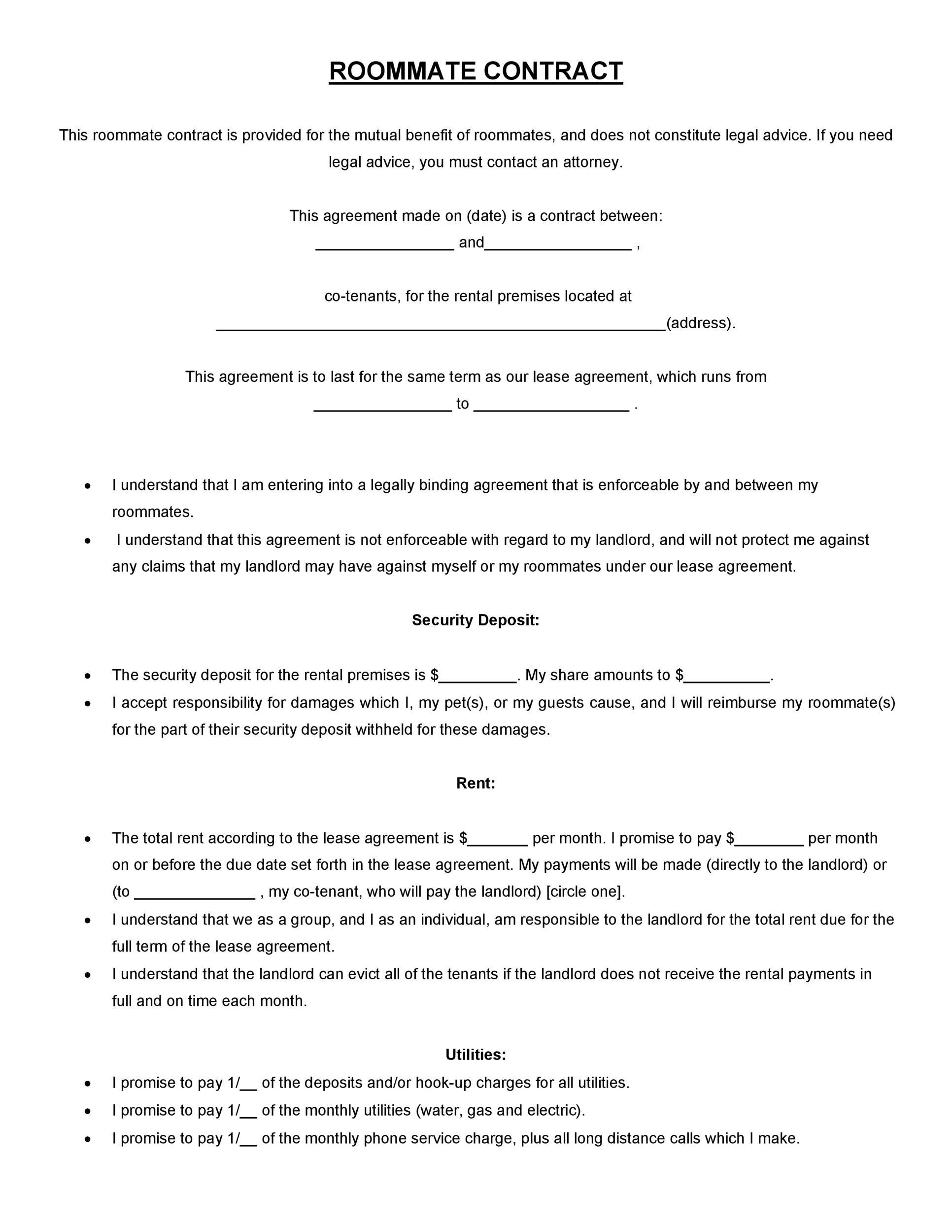 Printable Roommate Agreement Template 29  Legal Promise To Pay Document