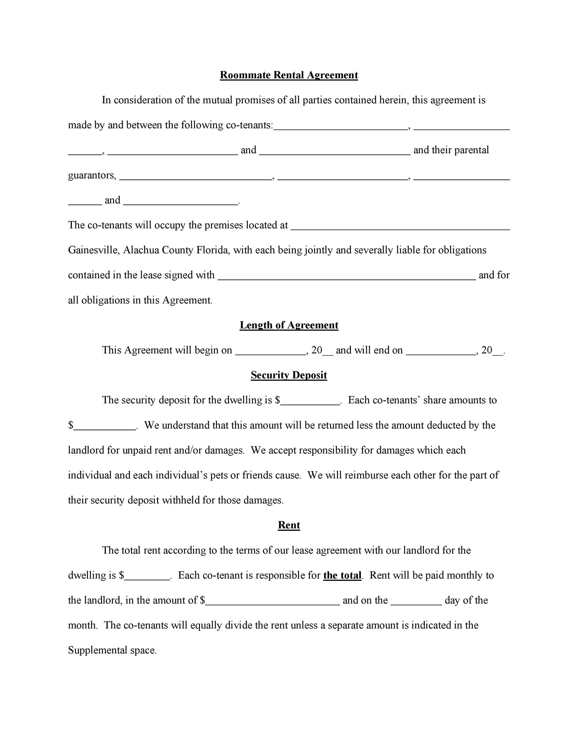 Free roommate agreement template 32