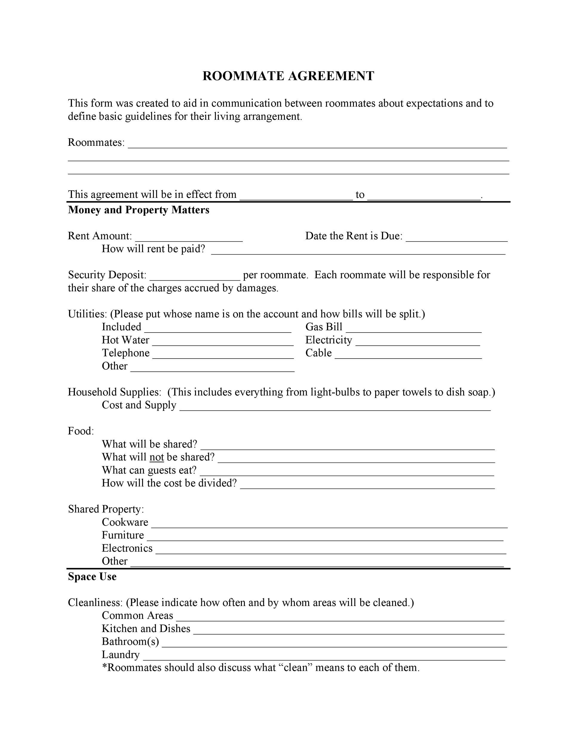 40 Free Roommate Agreement Templates Forms Word PDF – Sample Commercial Security Agreement Template