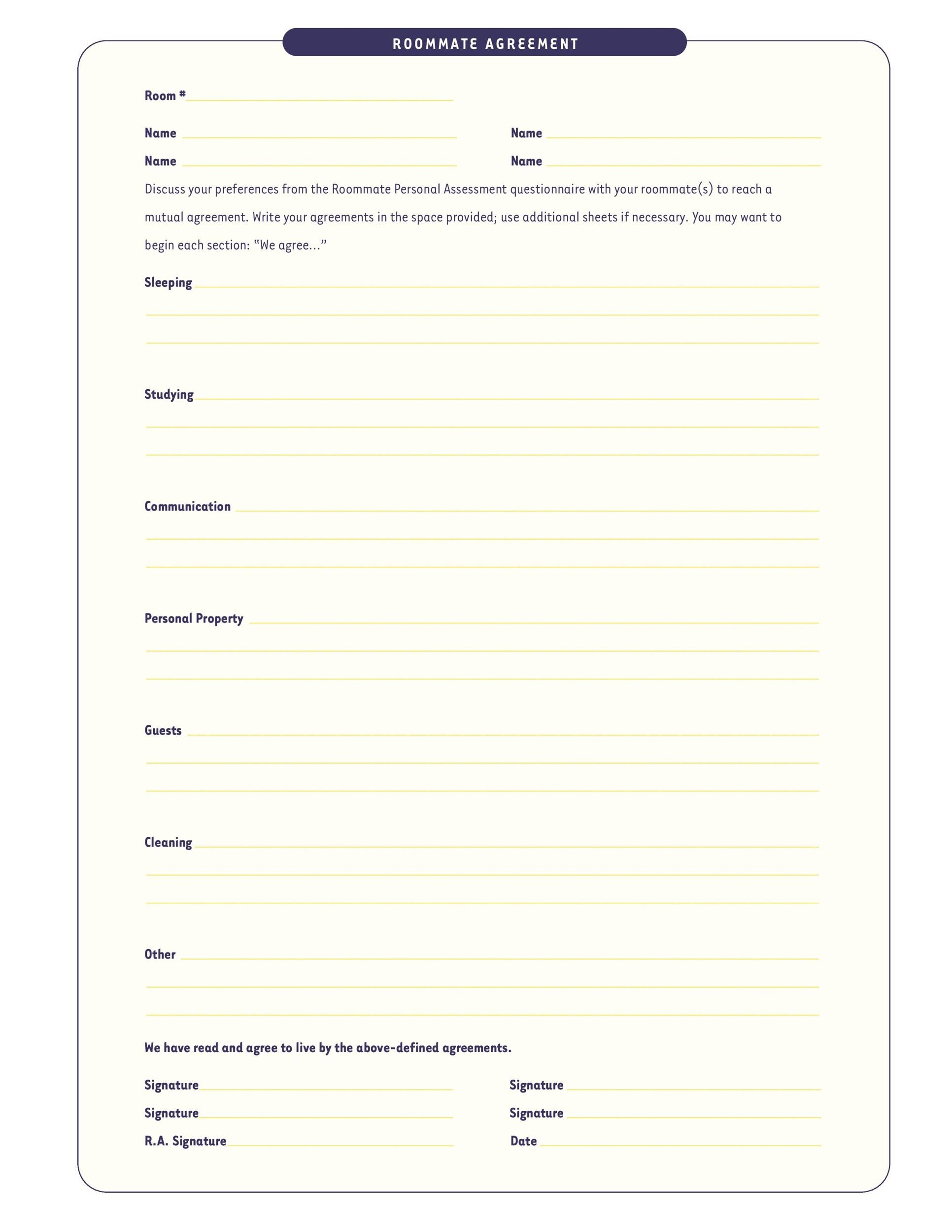 Printable Roommate Agreement Template 38  Mutual Agreement Contract Template