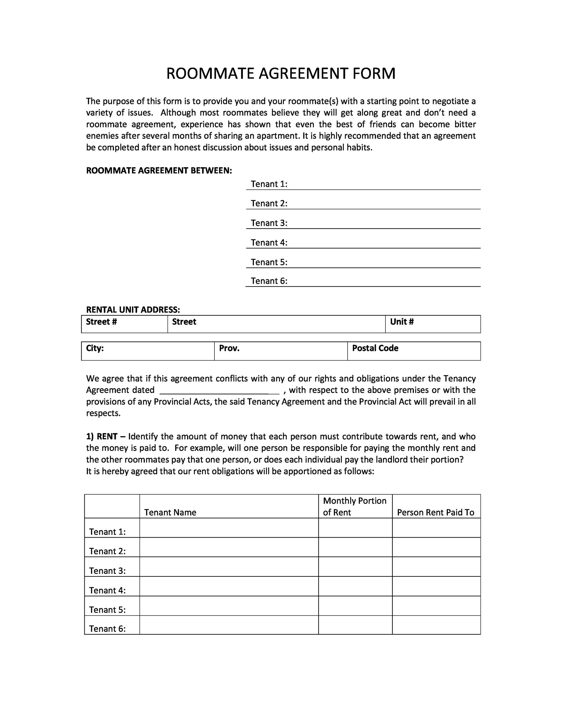 Printable Roommate Agreement Template 39