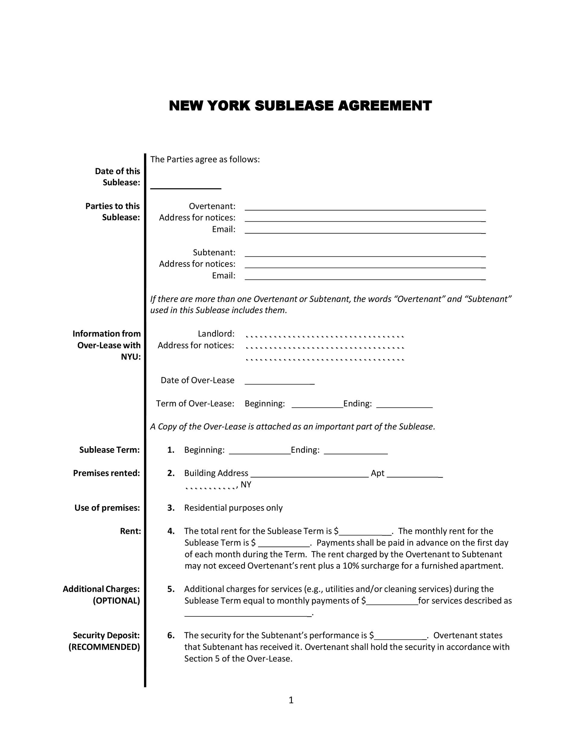 Free roommate agreement template 44