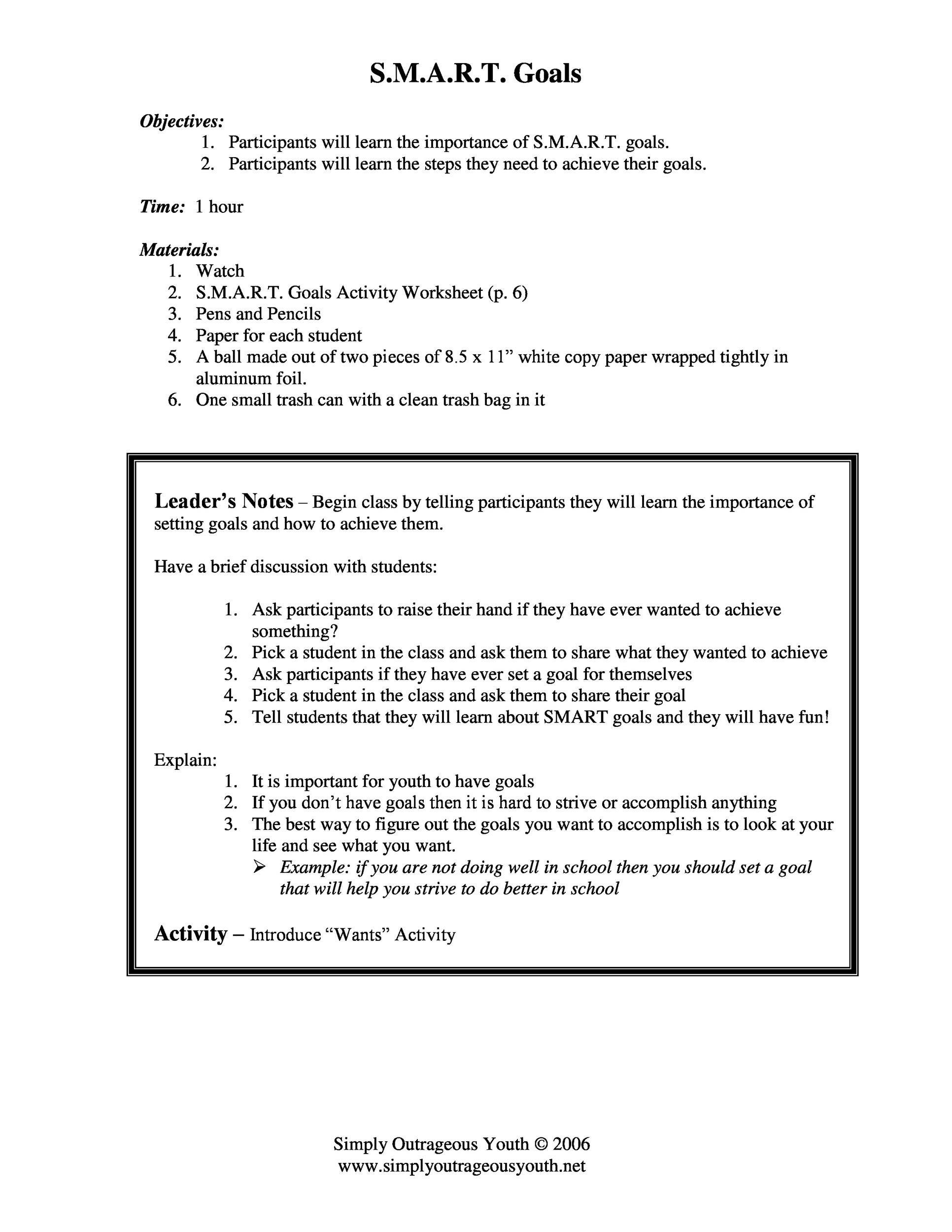 Free Smart Goals Template 01