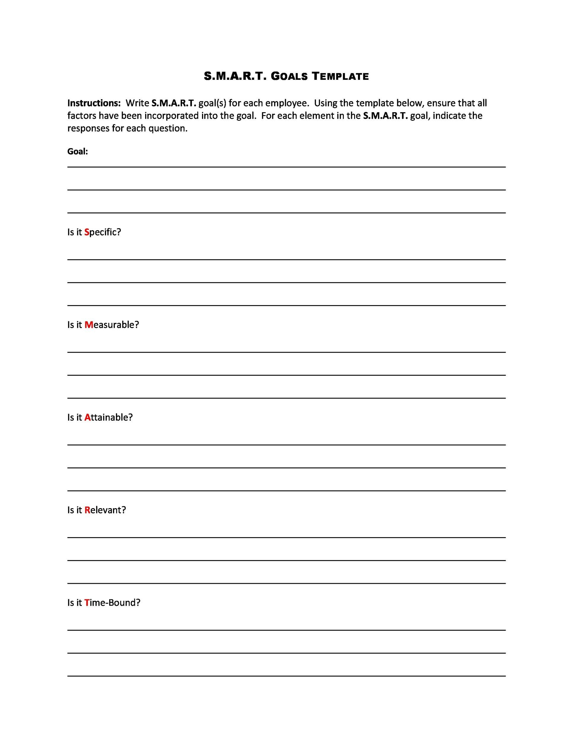 48 SMART Goals Templates Examples Worksheets Template Lab – Worksheet Template Word