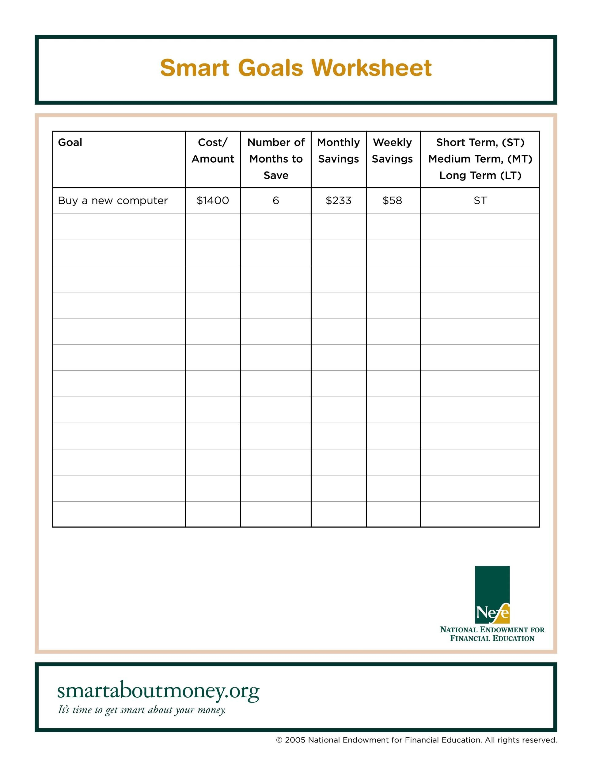 Printables Smart Goal Worksheet Template 48 smart goals templates examples worksheets template lab 11