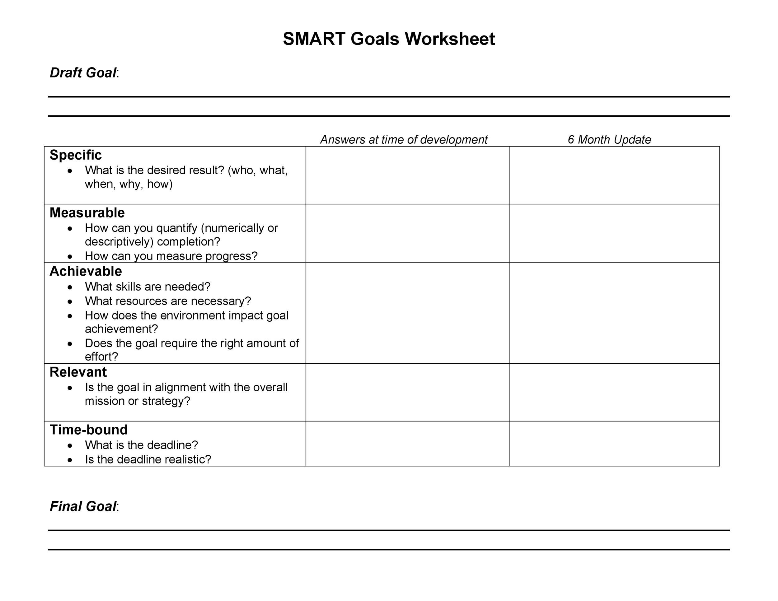 Printables Smart Goal Worksheet Template 48 smart goals templates examples worksheets template lab 16