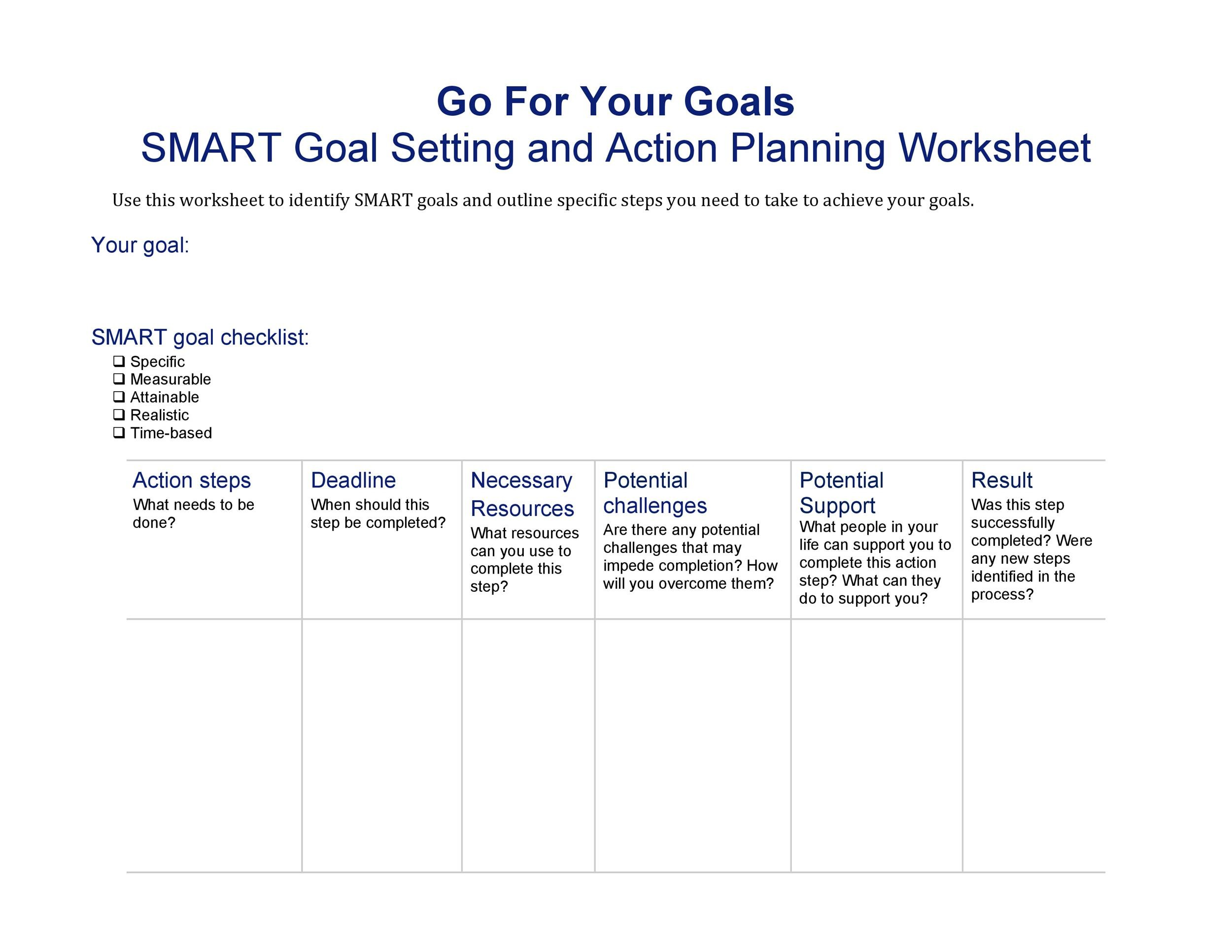 48 Smart Goals Templates, Examples & Worksheets - Template Lab