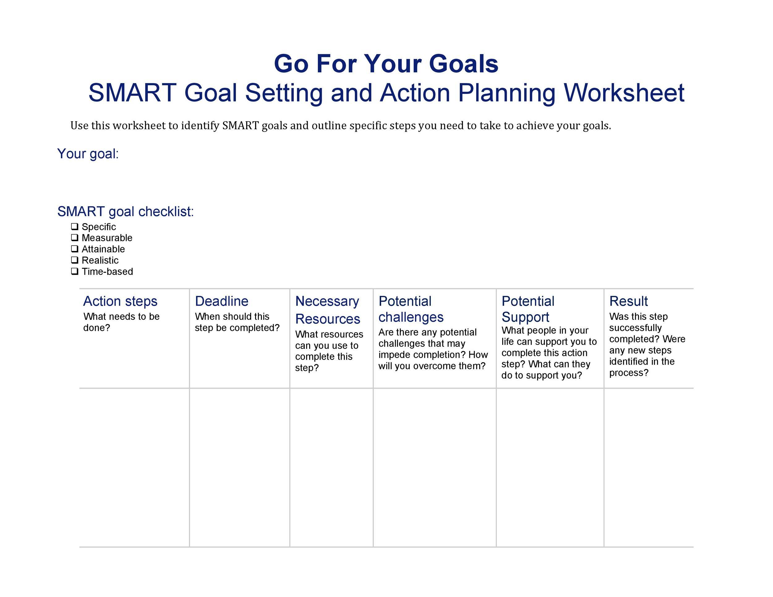 Free Smart Goals Template 20
