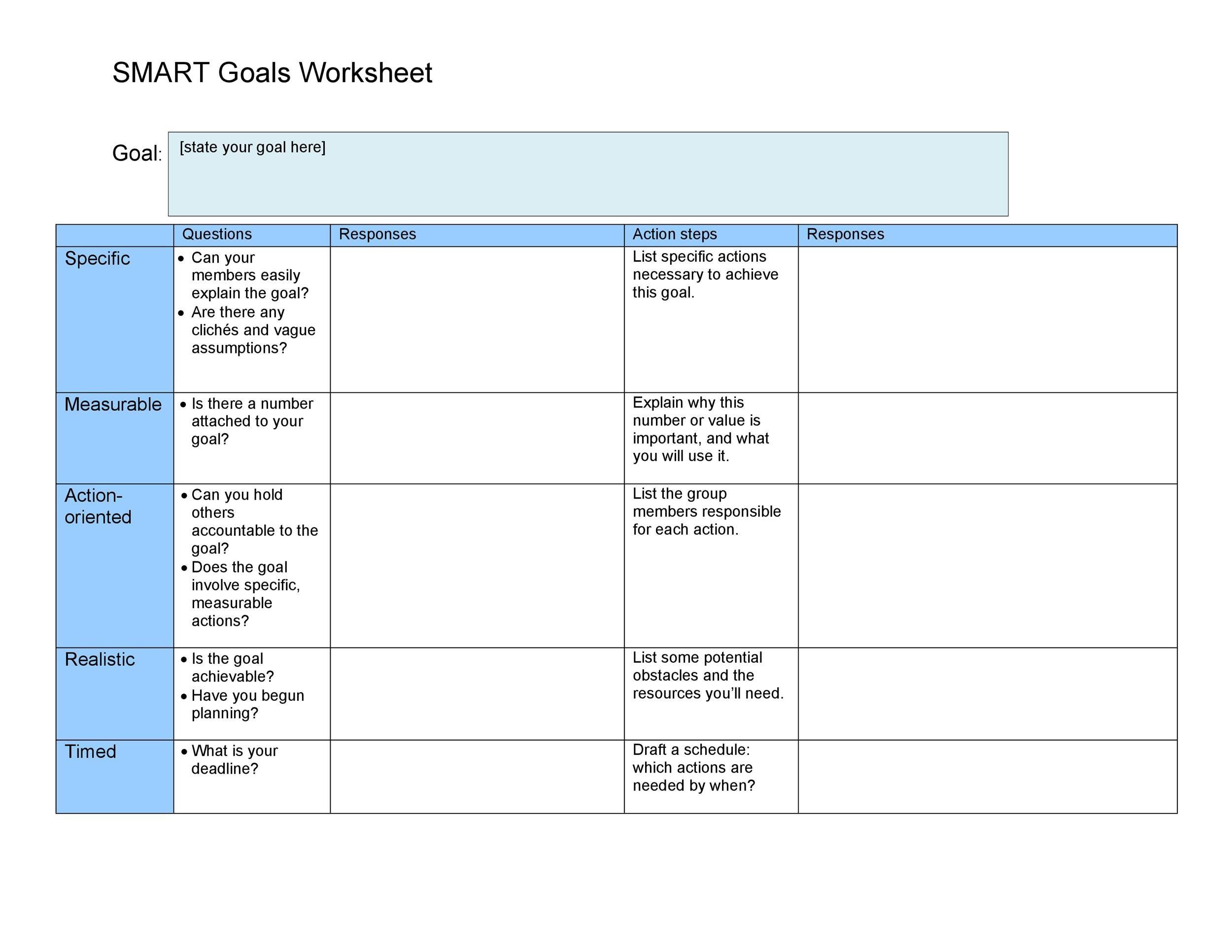 Free Smart Goals Template 38