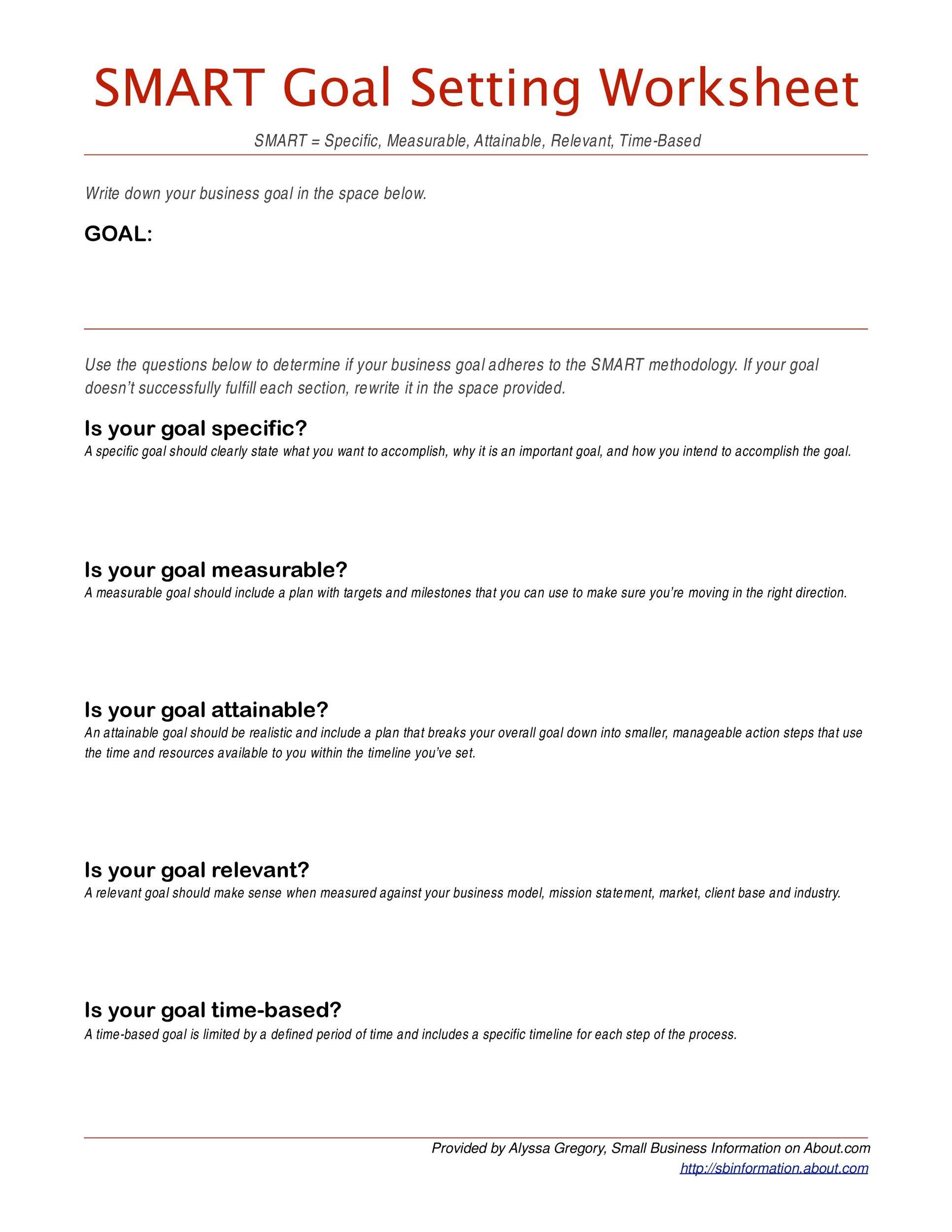 Free Smart Goals Template 40