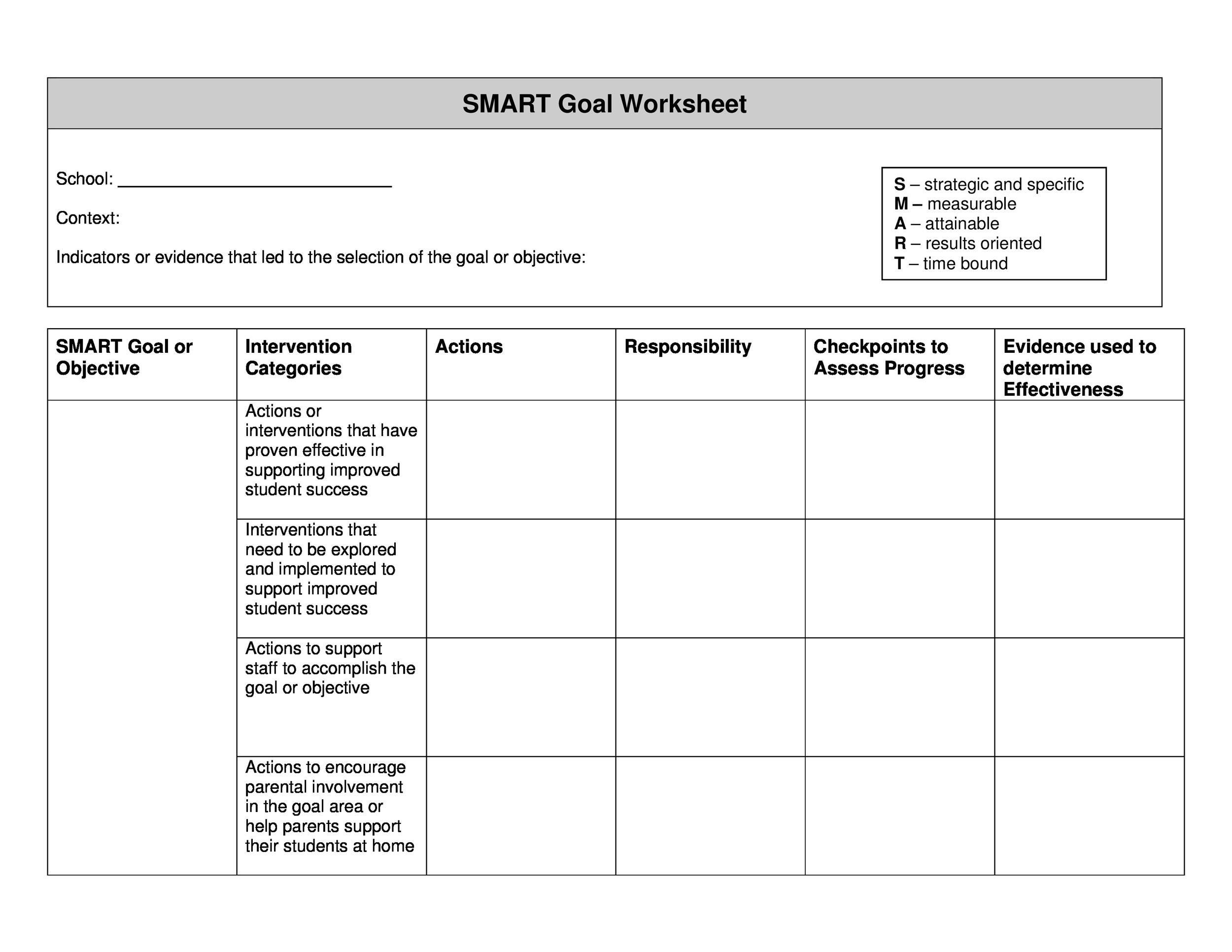 Free Smart Goals Template 41