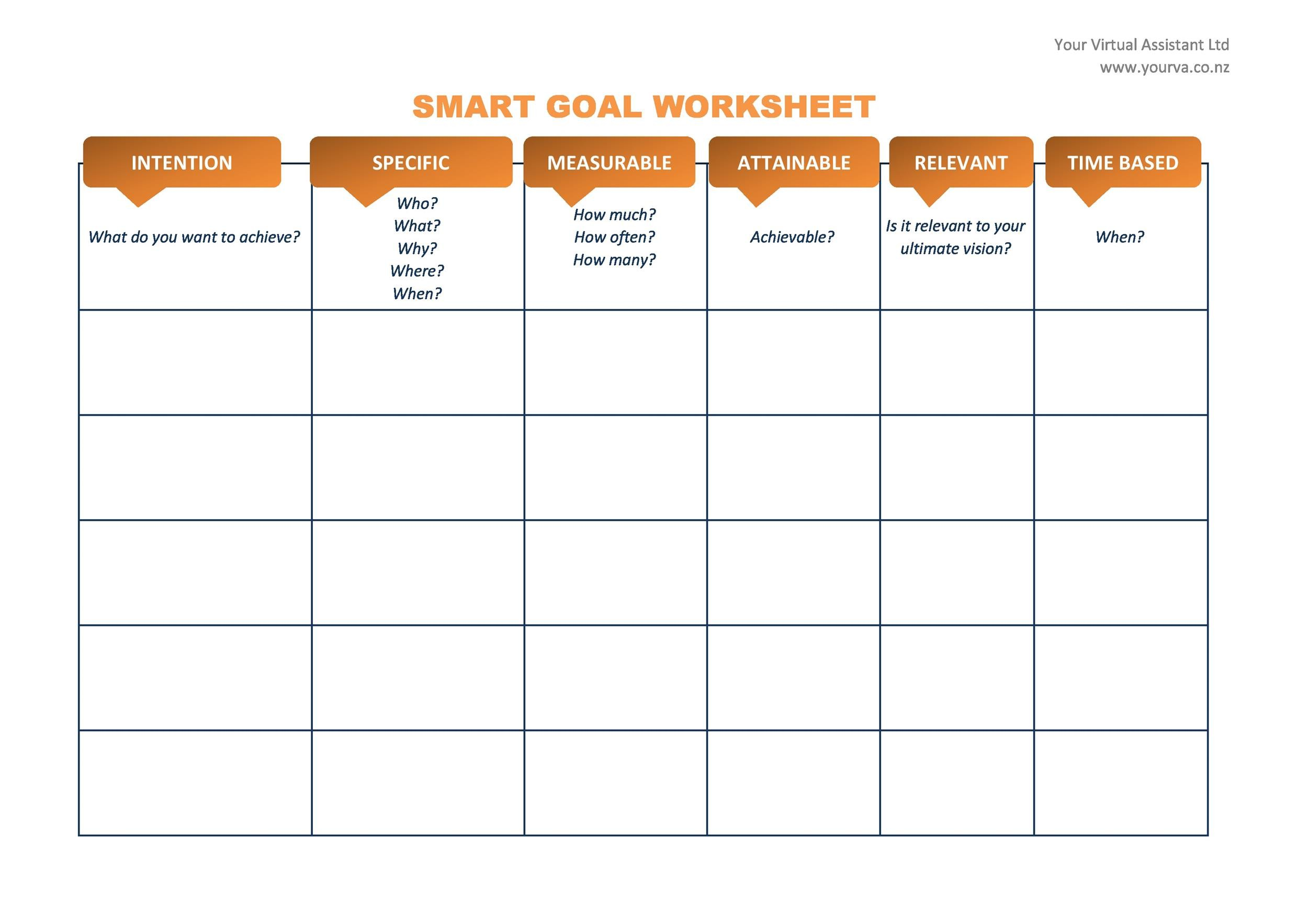 S.M.A.R.T. Goal Setting Worksheet