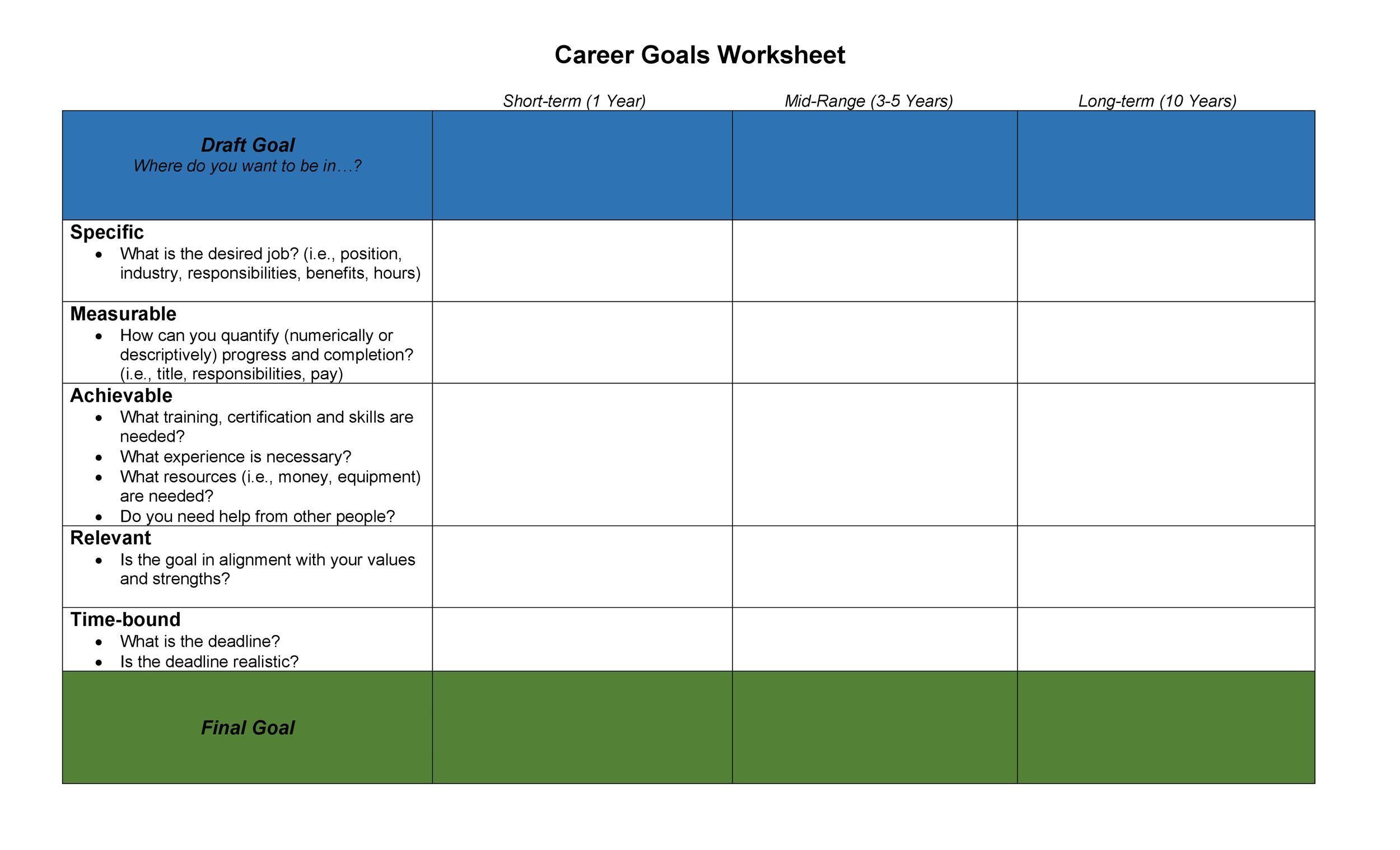 Free Smart Goals Template 47