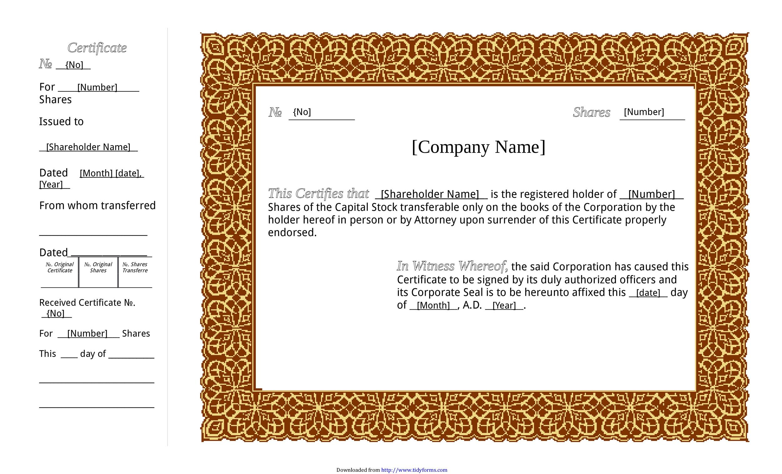 Free Stock Certificate Template 01