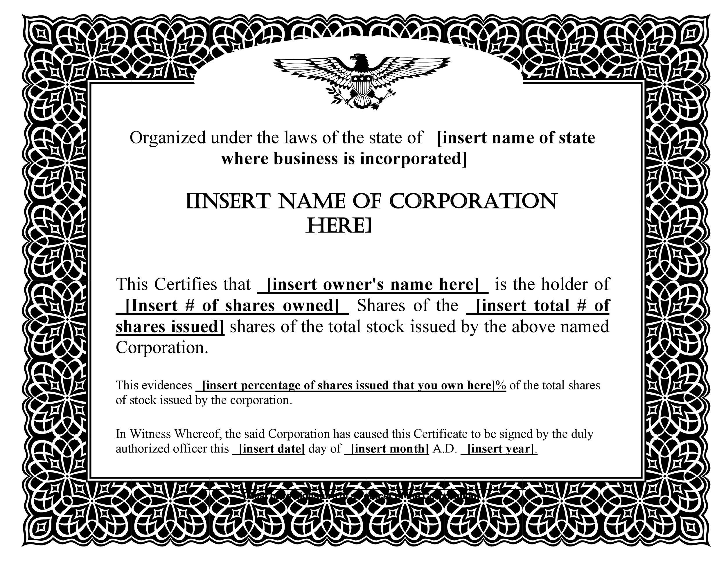 Printable Stock Certificate Template 02  Certificate Templates In Word
