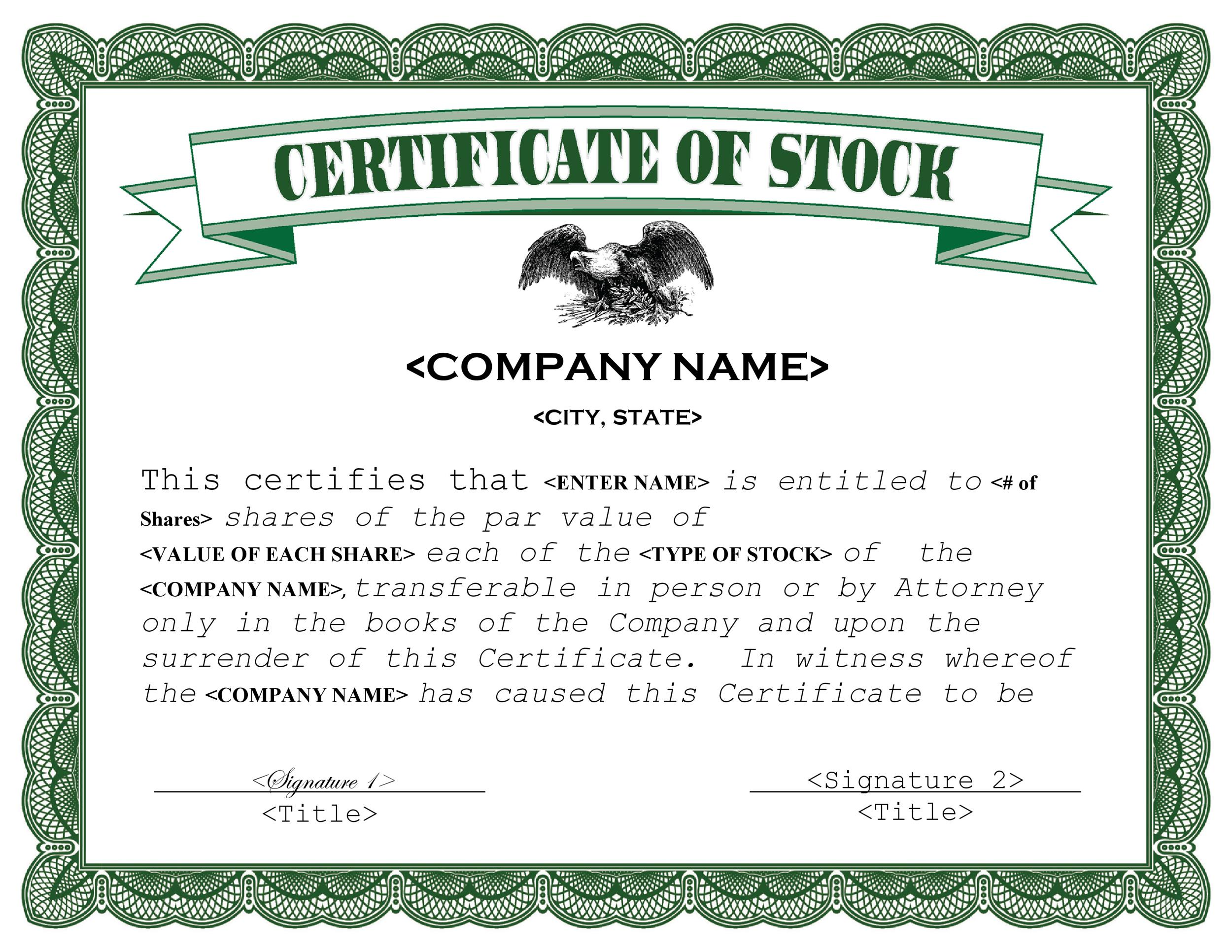 Bon Printable Stock Certificate Template 04
