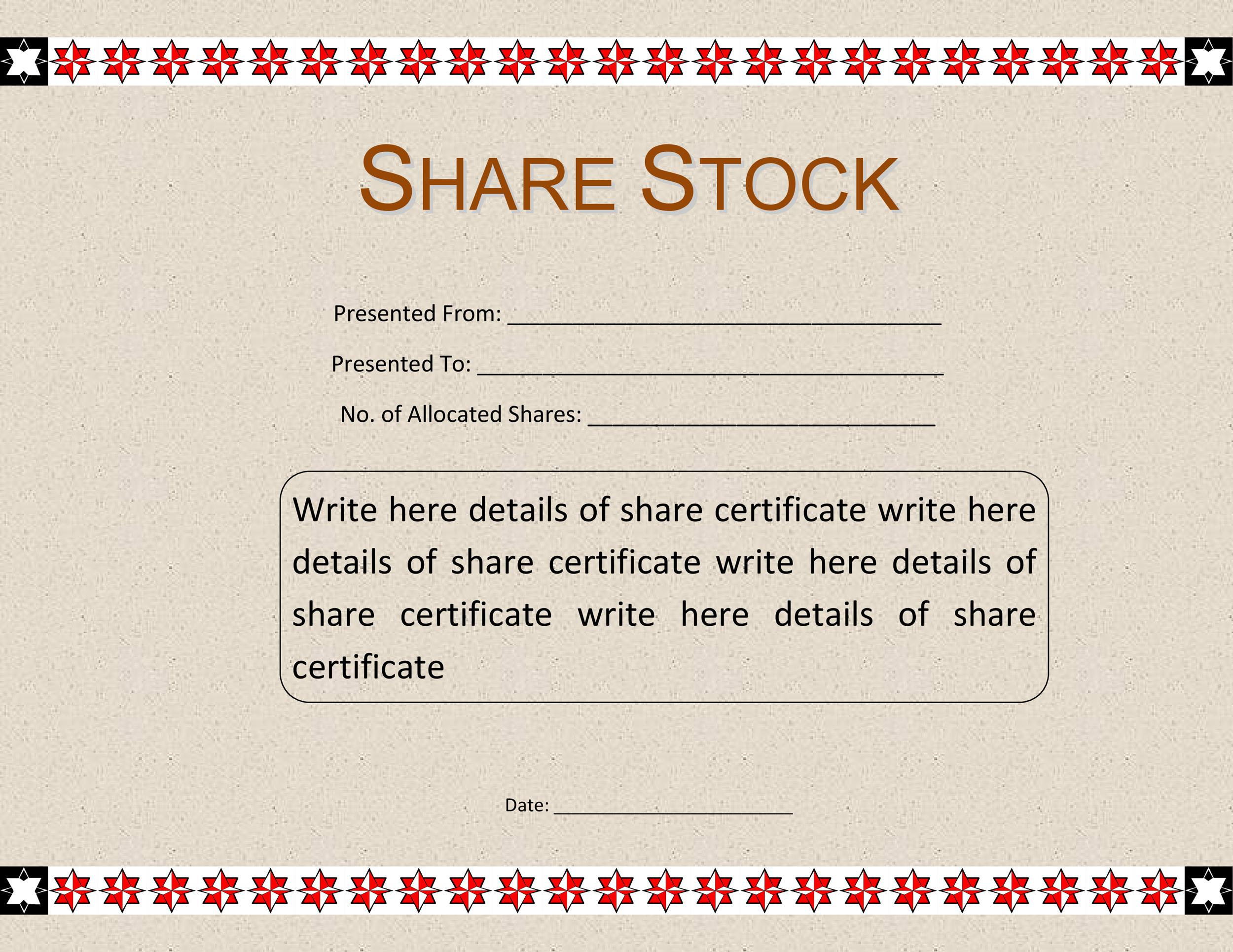 Free Stock Certificate Template 06