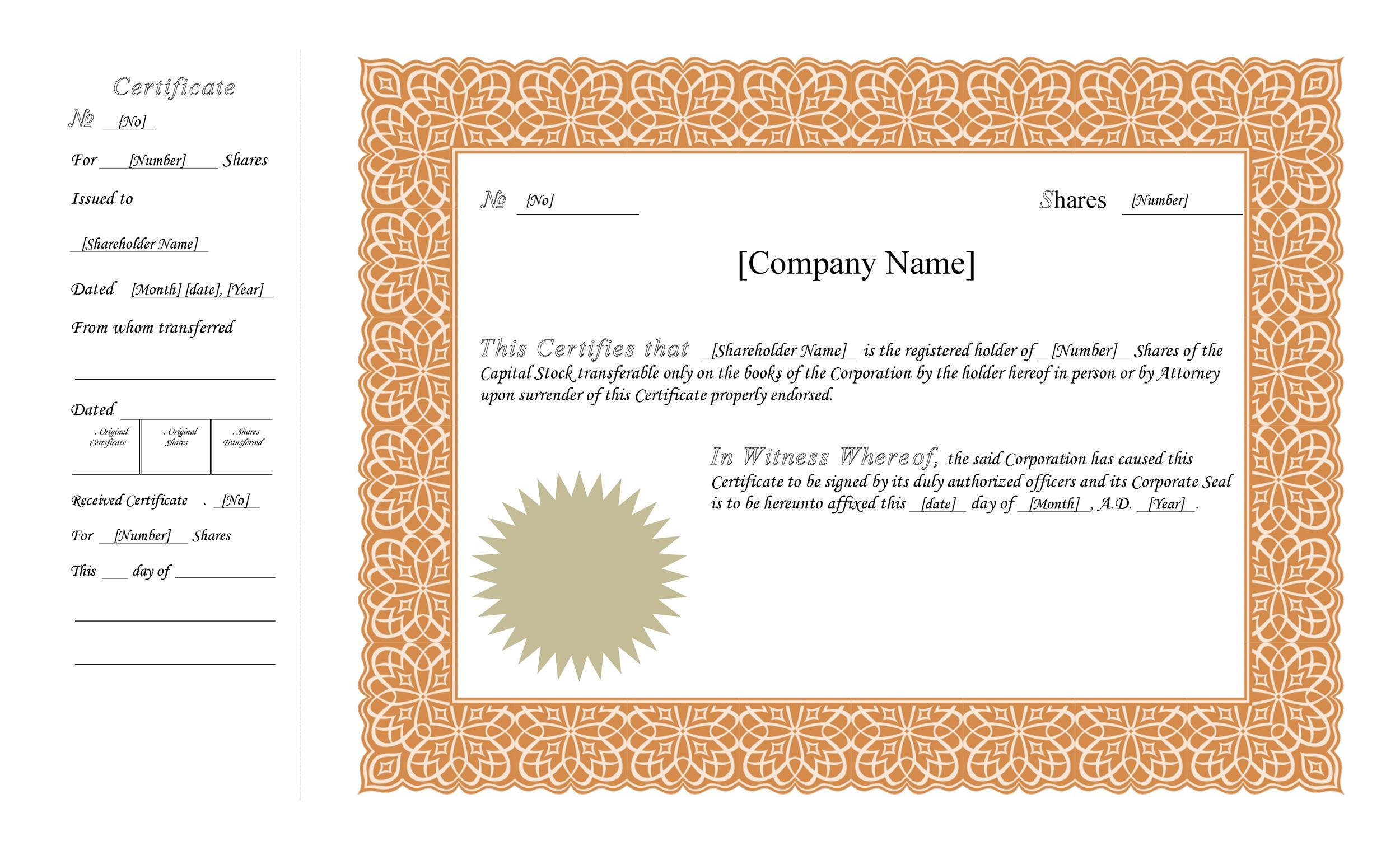 Free Stock Certificate Template 07