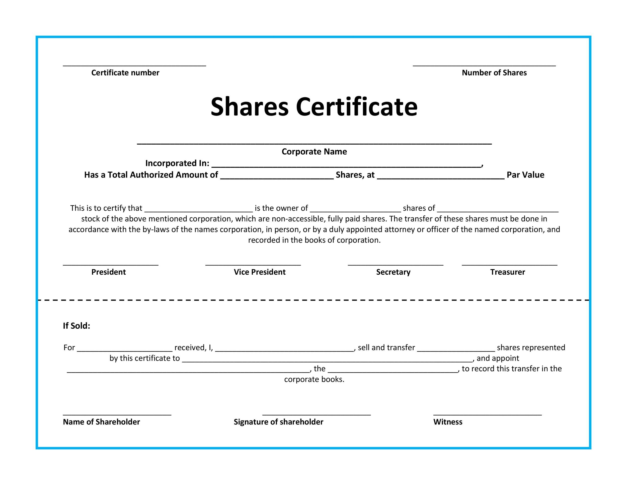 Shareholder certificate template passionative shareholder certificate template yelopaper Gallery