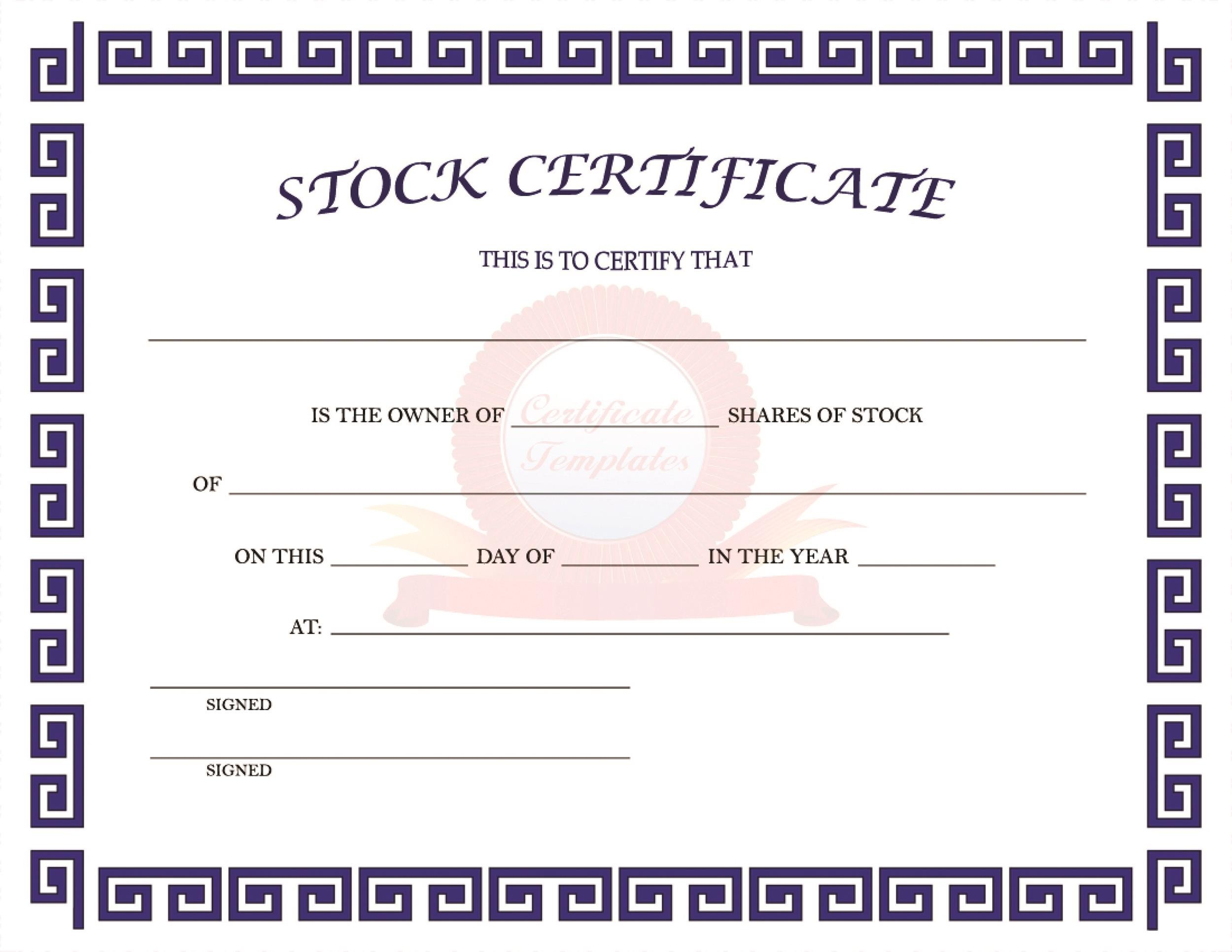 Free Stock Certificate Template 11
