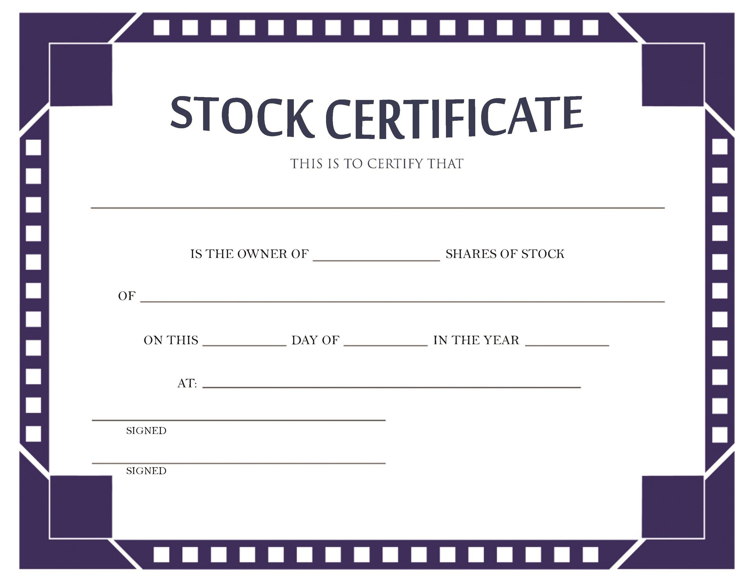 Free Stock Certificate Template 12
