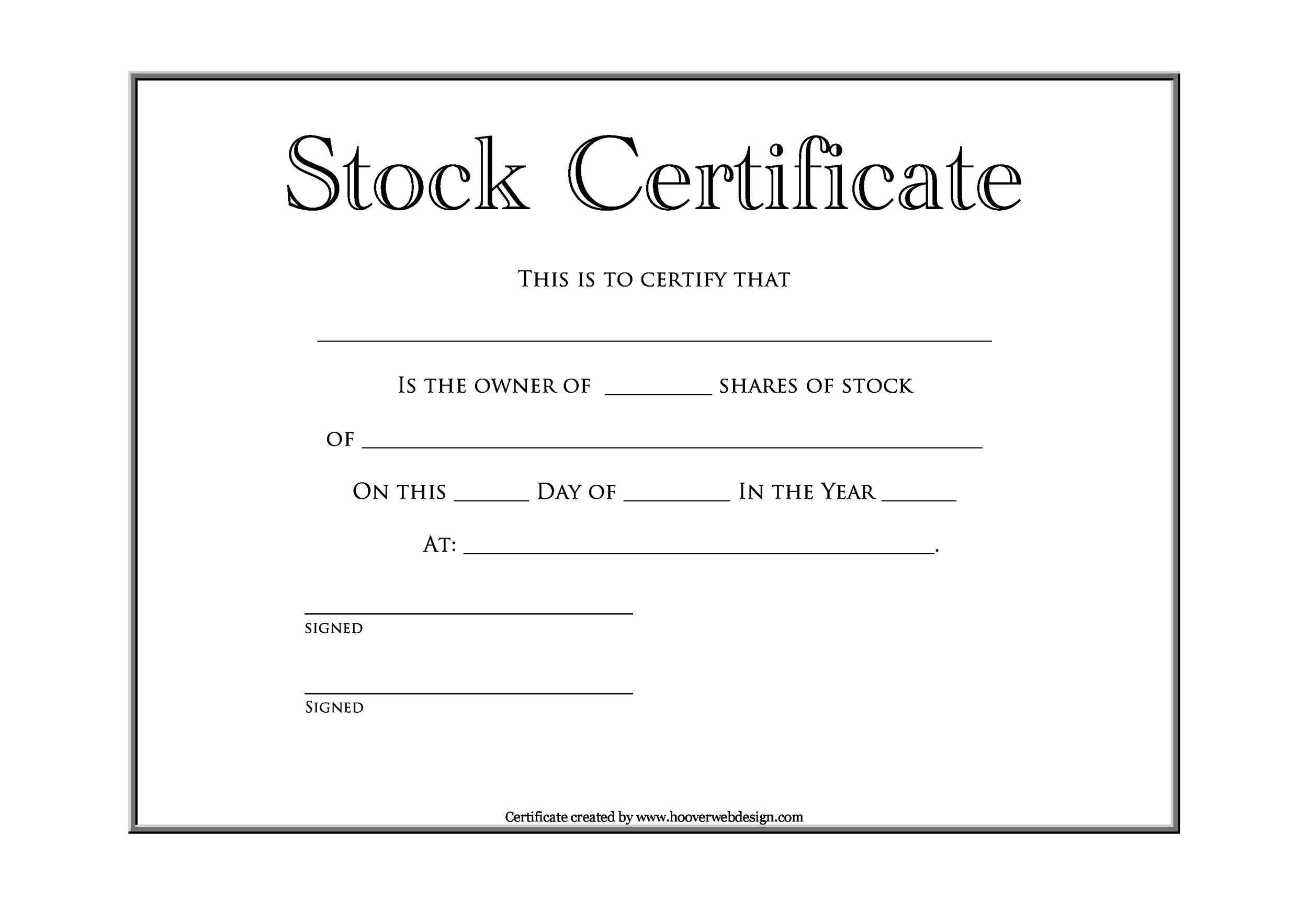 Free Stock Certificate Template 14