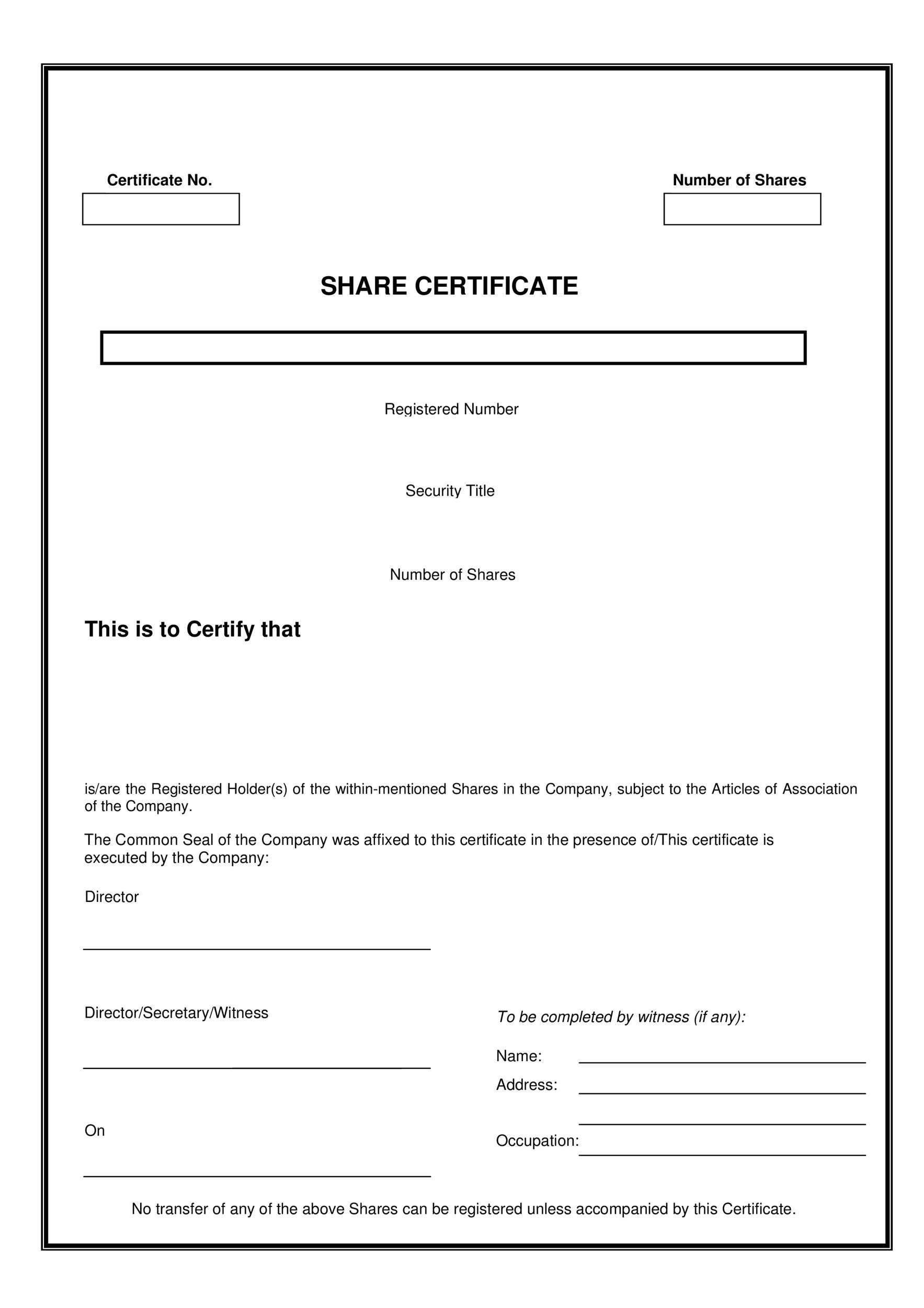 Free Stock Certificate Template 20