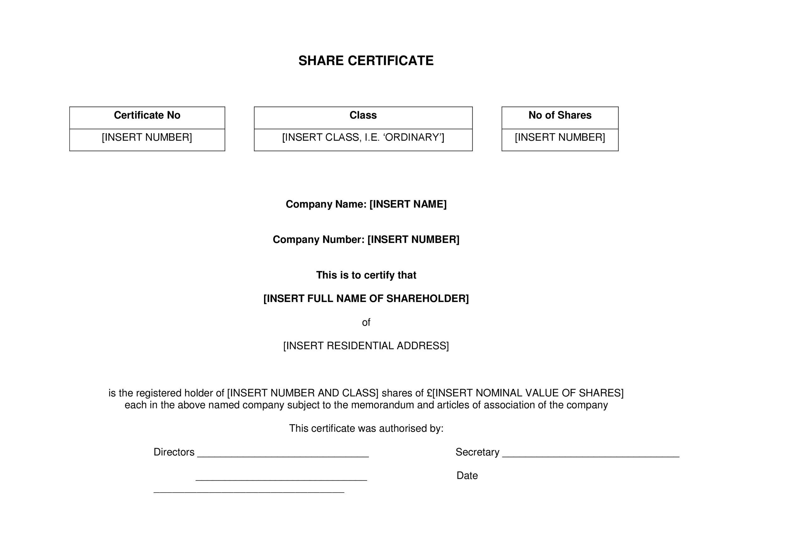 Free Stock Certificate Template 21
