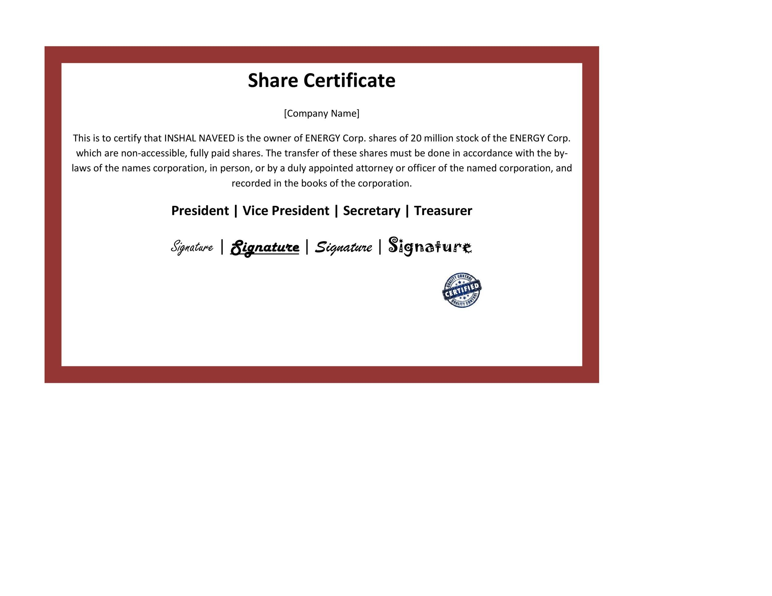 Free Stock Certificate Template 22