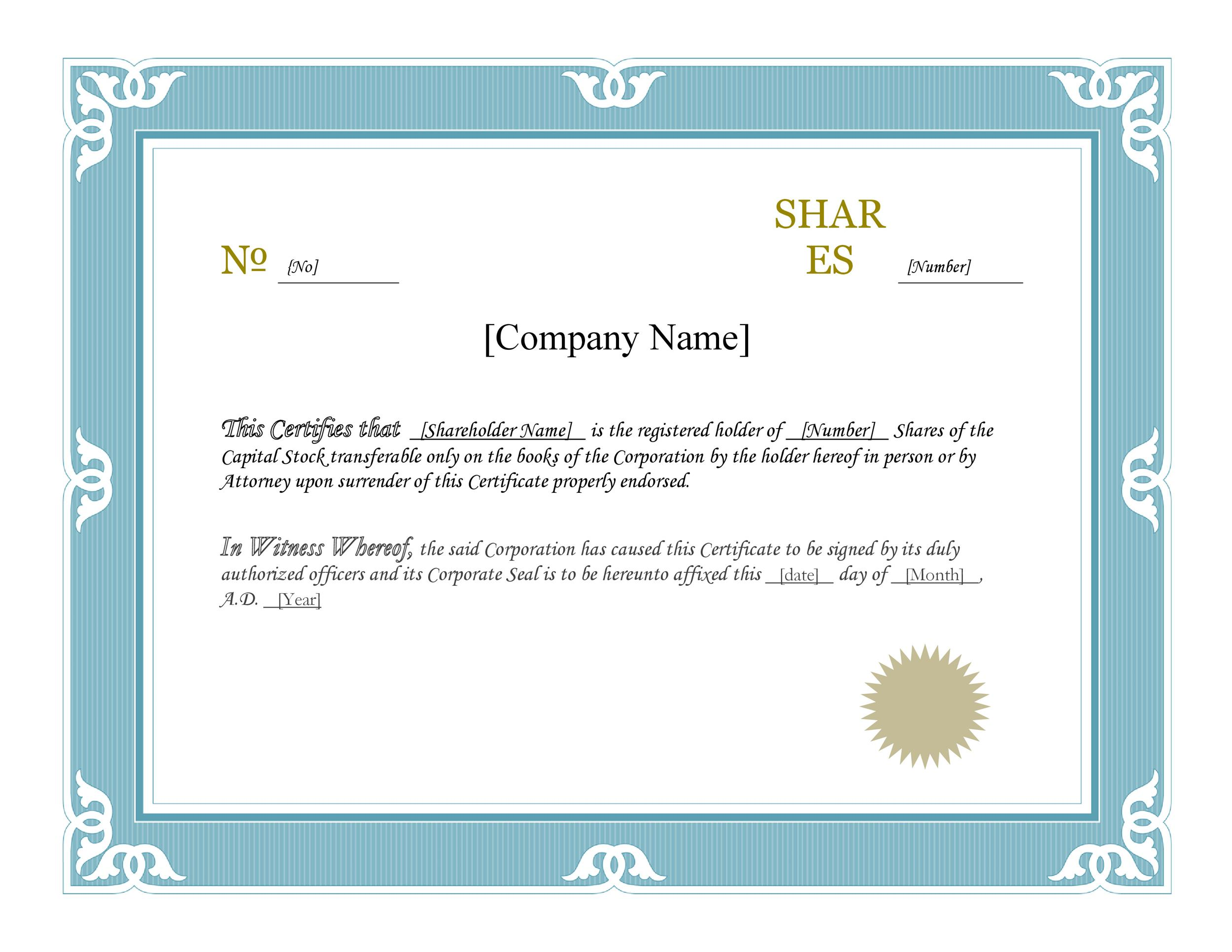 40 free stock certificate templates word pdf for Shareholding certificate template