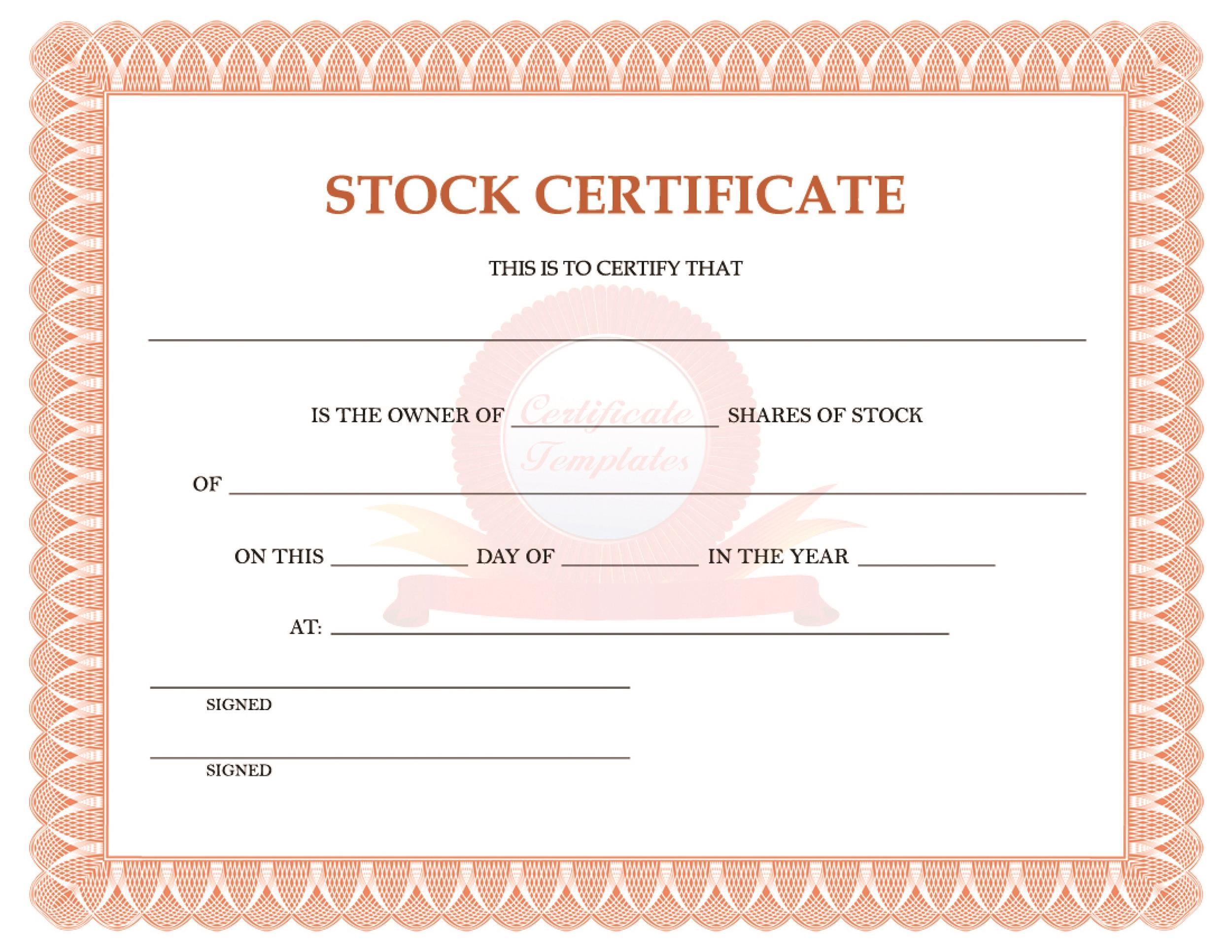 Share Certificate Template Free Download Rainbow Factory Stock