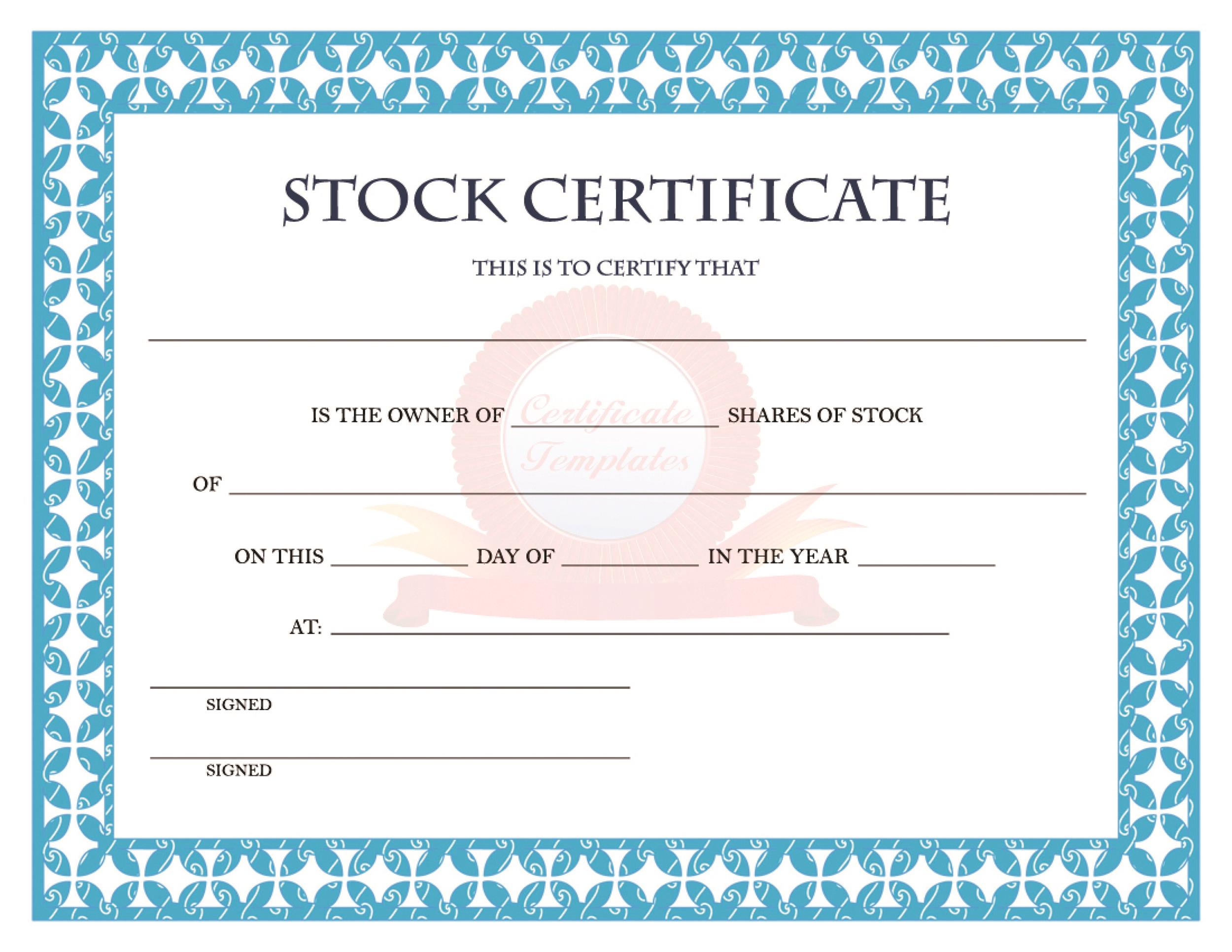 Free Stock Certificate Template 27